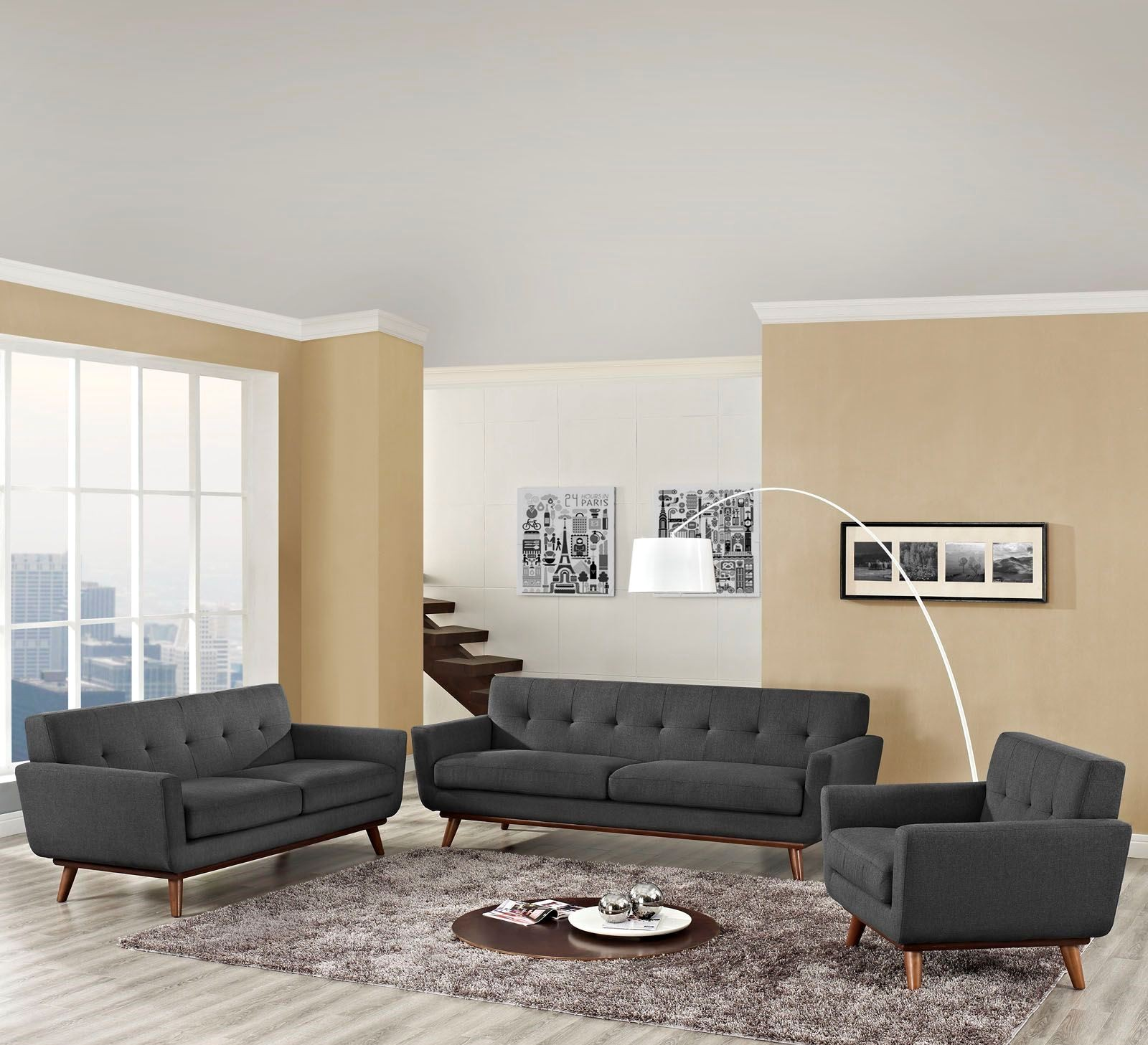 engage gray 3 piece living room set from renegade coleman furniture. Black Bedroom Furniture Sets. Home Design Ideas