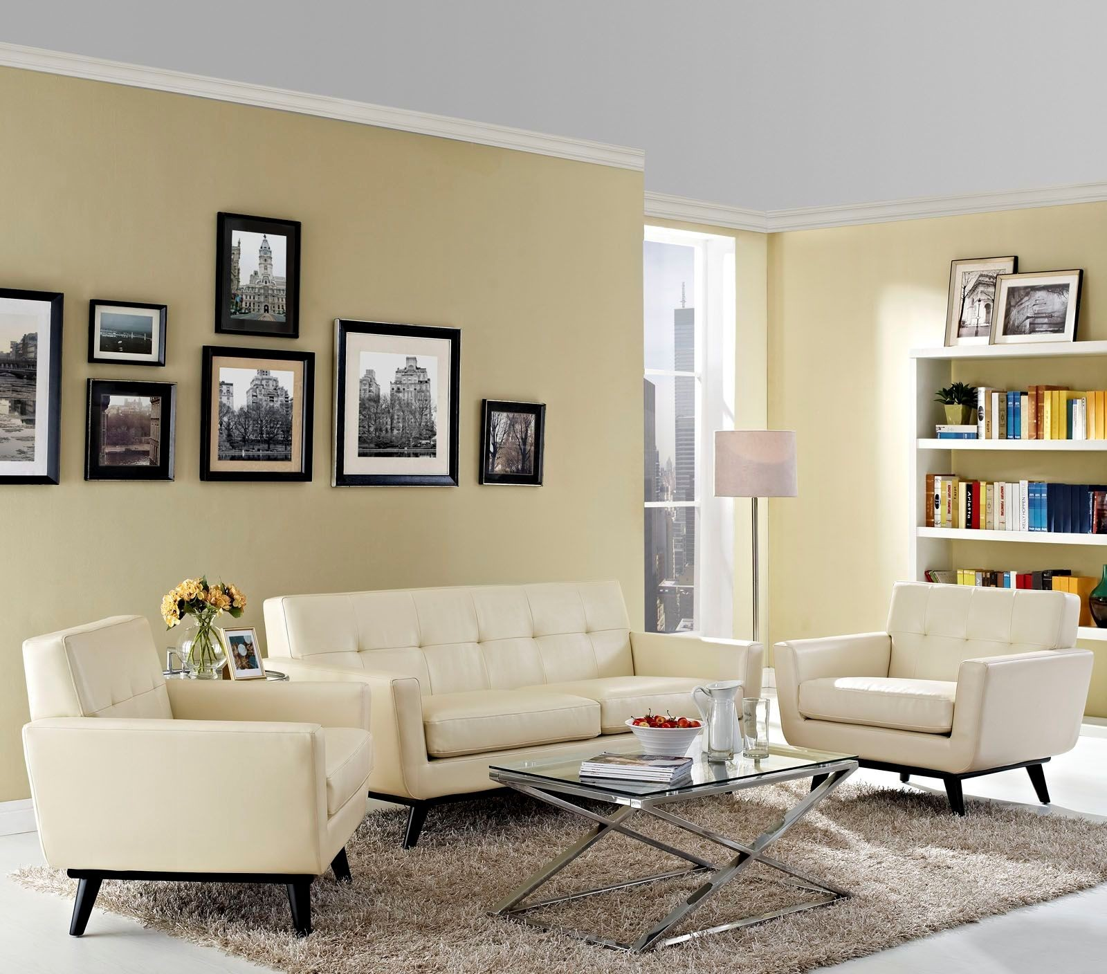 Eei 1762 bei set engage beige 3 piece leather living room for 6 piece living room set