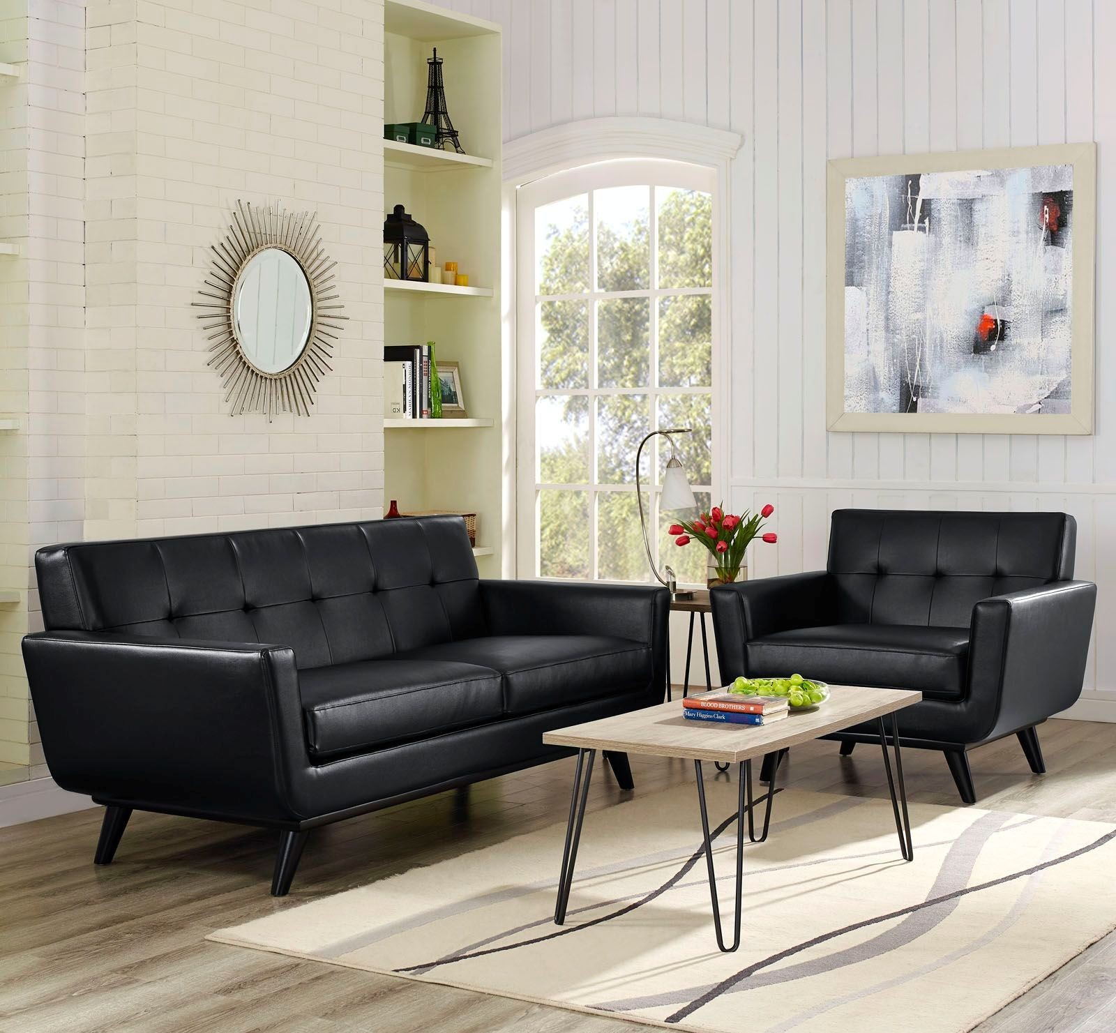 Engage black 2 piece leather living room set eei 1765 blk for 8 piece living room furniture