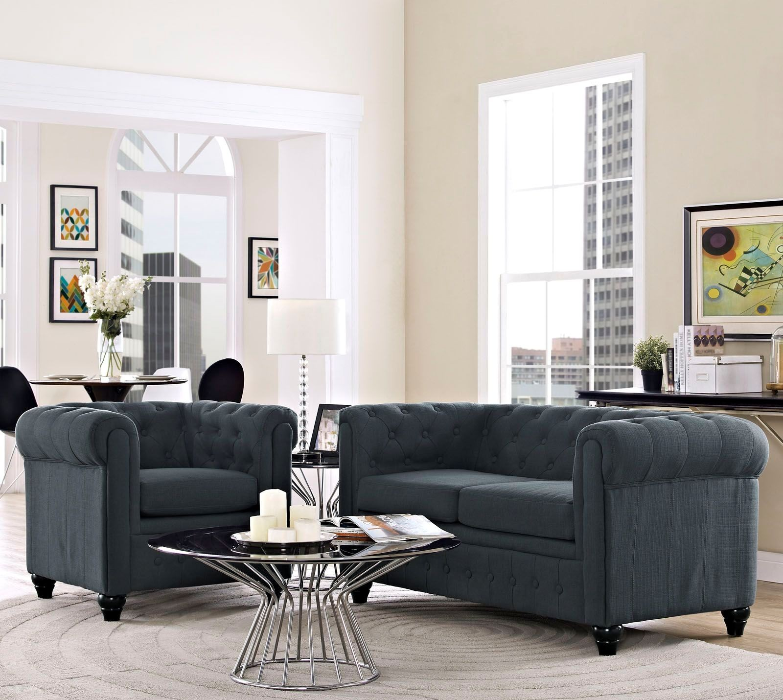 Eei 1777 gry set earl gray 2 piece upholstered living room for 7 piece living room set with tv