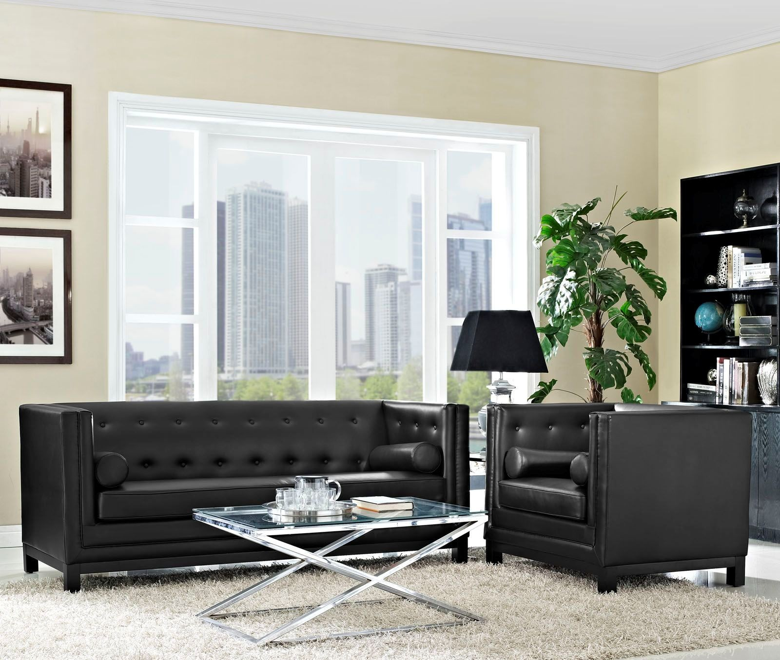 Imperial black 2 piece living room set from renegade for 7 piece living room set with tv