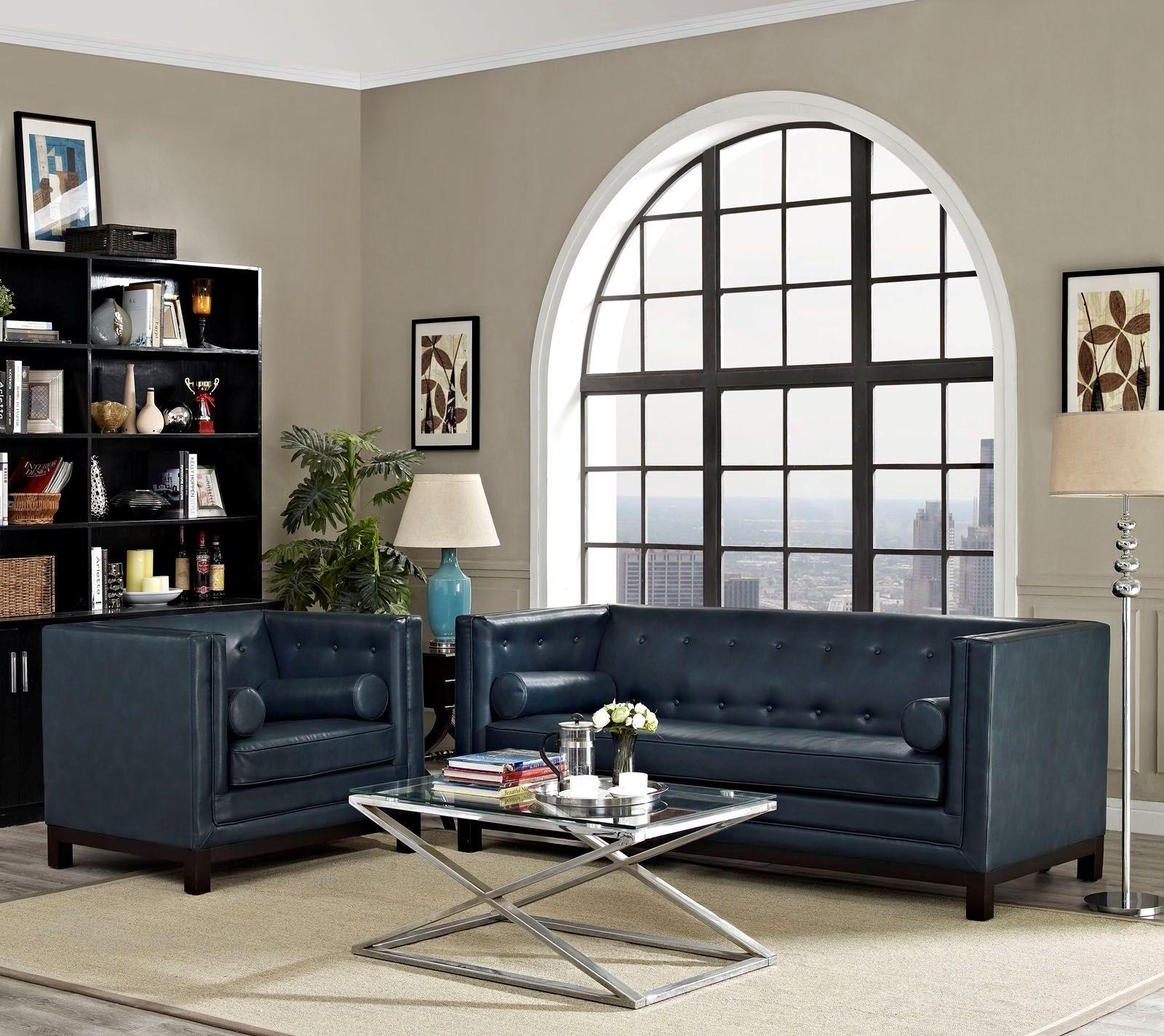 Imperial blue 2 piece living room set eei 1781 blu set for 2 piece living room set
