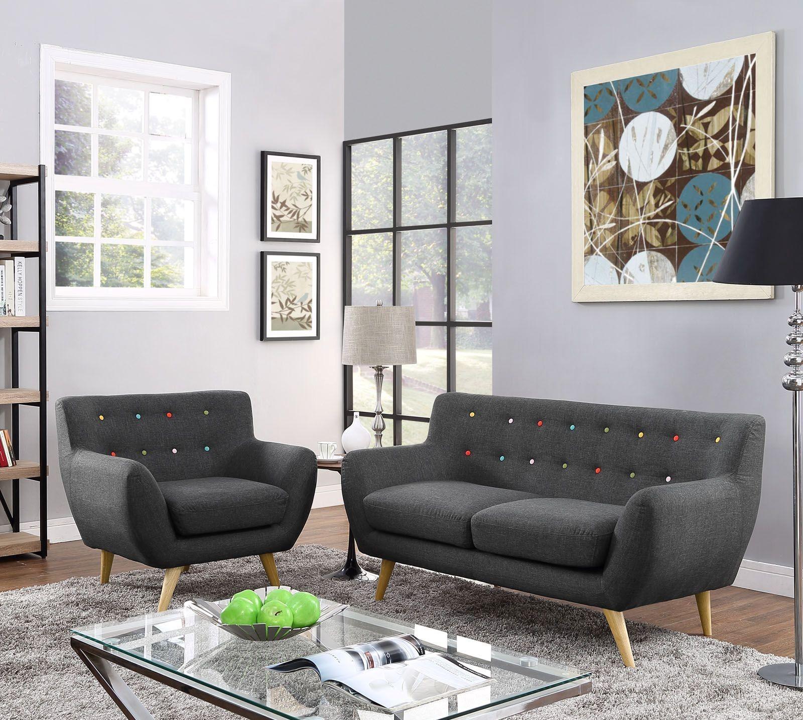 Eei 1783 gry set remark gray 2 piece living room set from for Two piece living room set