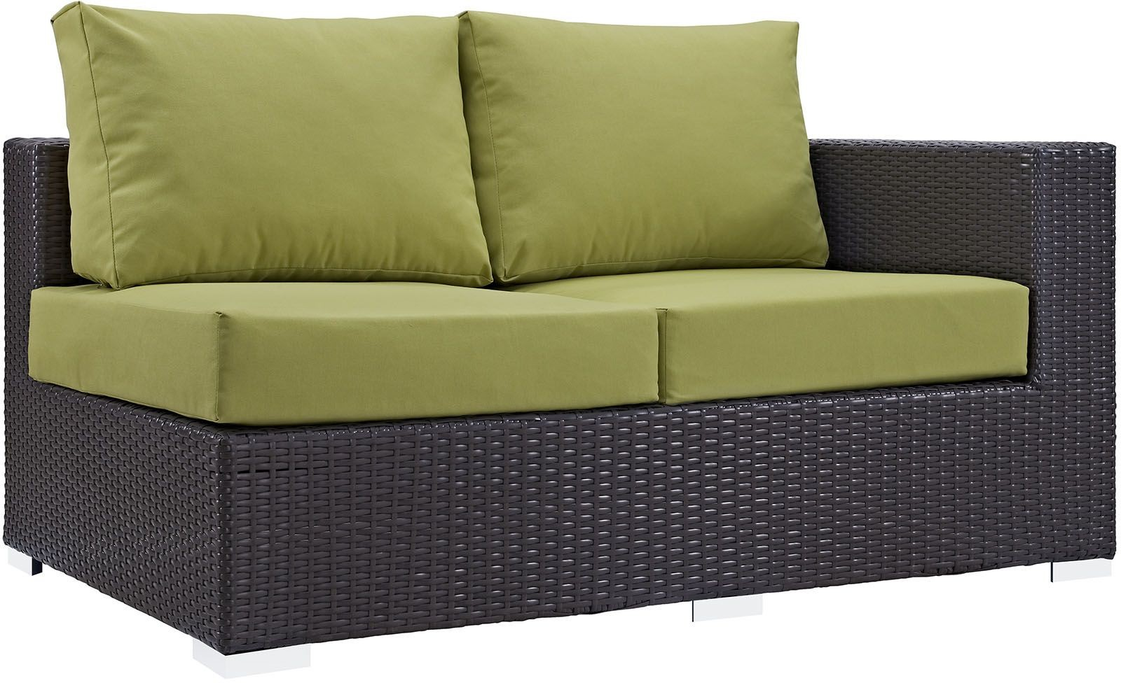 Convene Espresso Peridot Outdoor Patio Raf Loveseat From Renegade Coleman Furniture