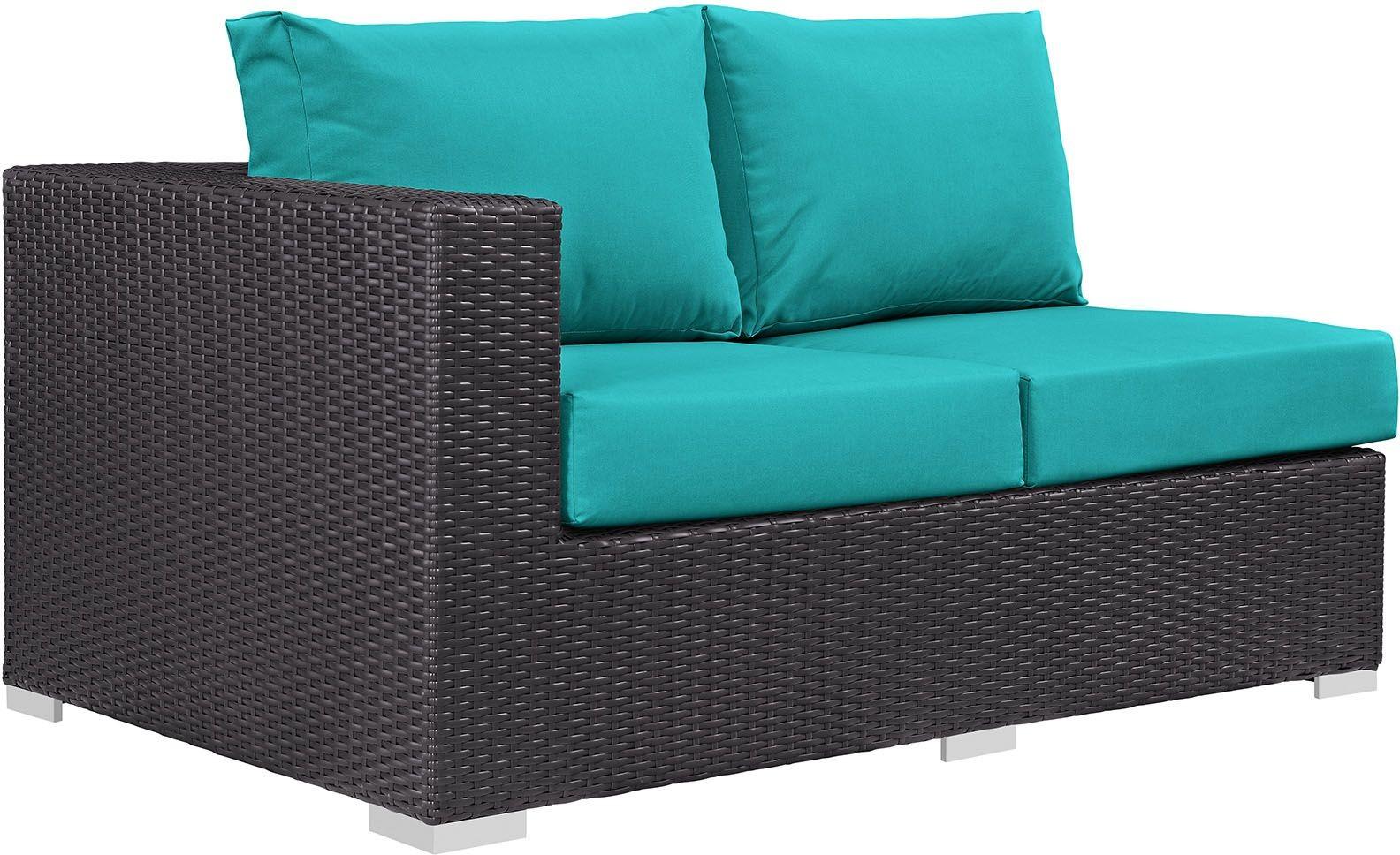 Convene Espresso Turquoise Outdoor Patio Laf Loveseat Eei 1842 Exp Trq Renegade Furniture