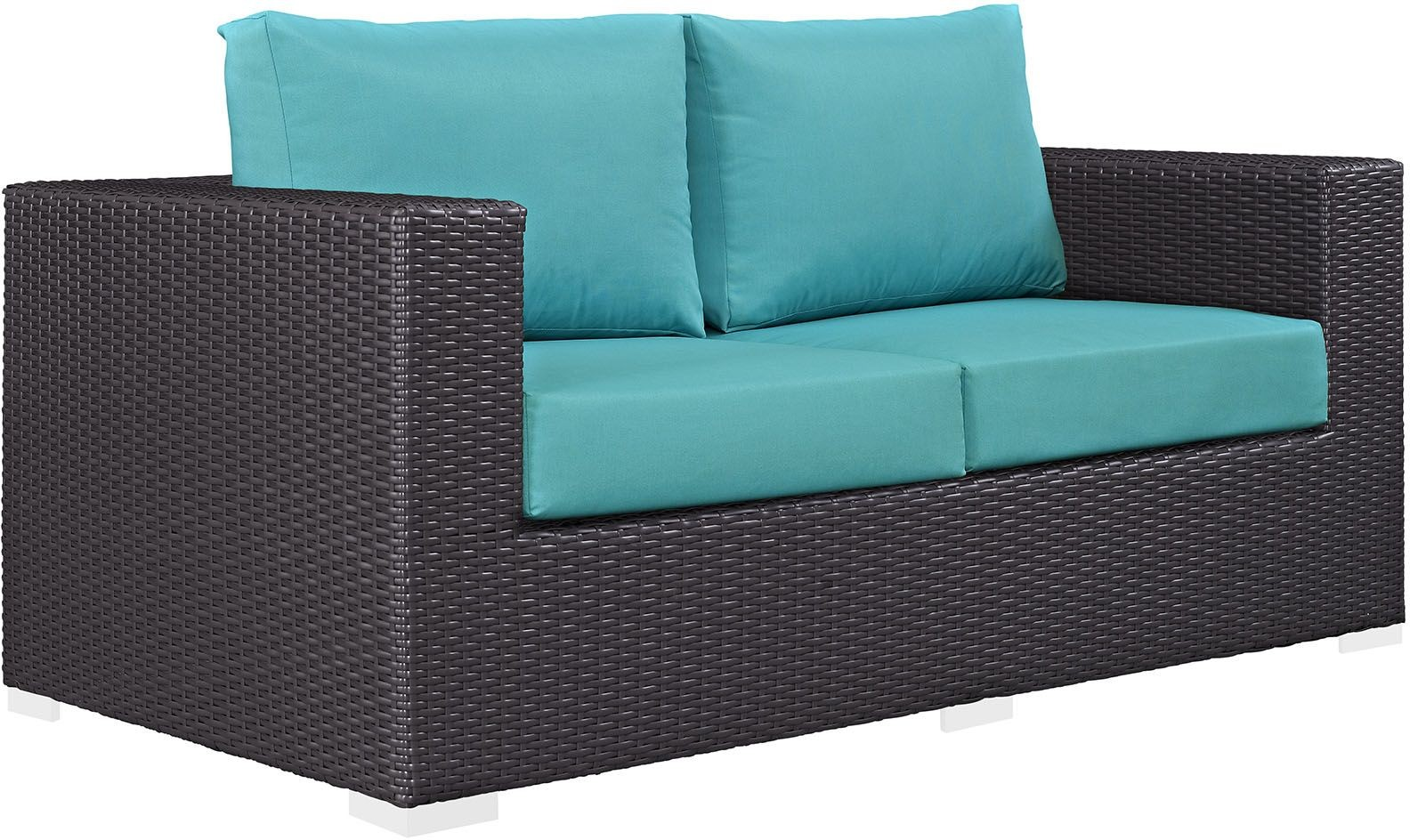 Convene Espresso Turquoise Outdoor Patio Loveseat From Renegade Coleman Furniture