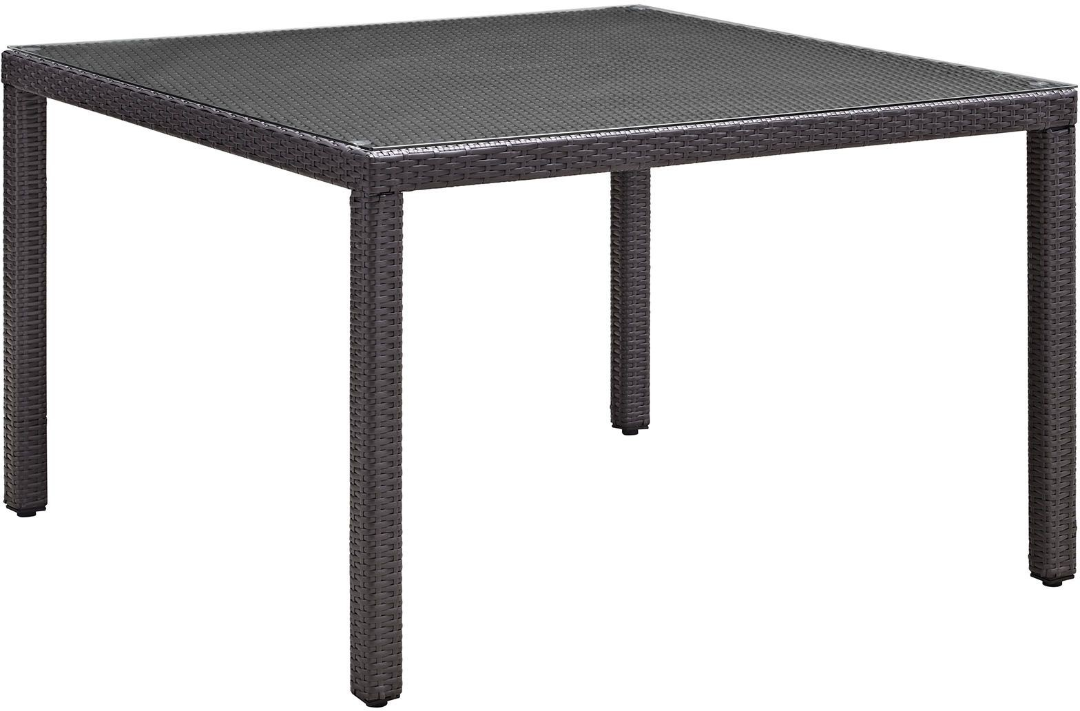 Convene espresso 47 square outdoor patio glass top dining for Glass top outdoor dining table