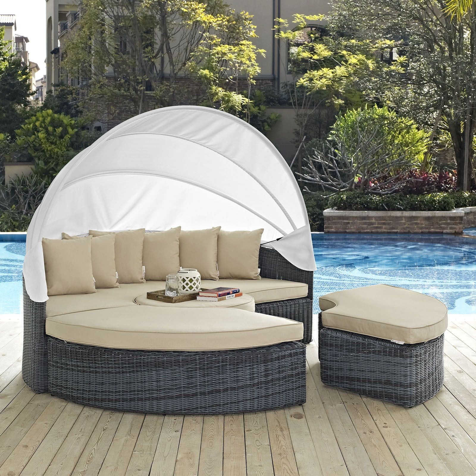 outdoor daybed with canopy summon antique canvas beige canopy outdoor patio sunbrella 31333