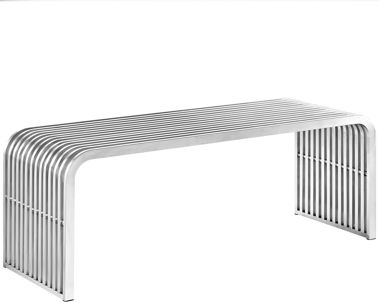 Pipe 47 Silver Stainless Steel Bench From Renegade Coleman Furniture