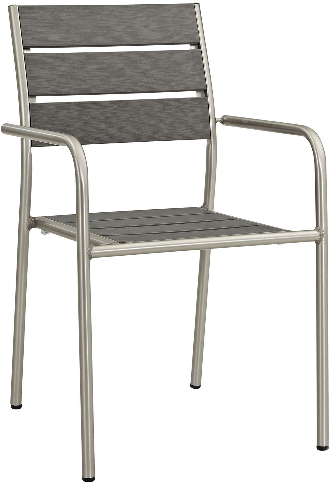 6 Chair Patio Set Cover: Shore Silver Gray Aluminum Outdoor Patio Dining Chair From