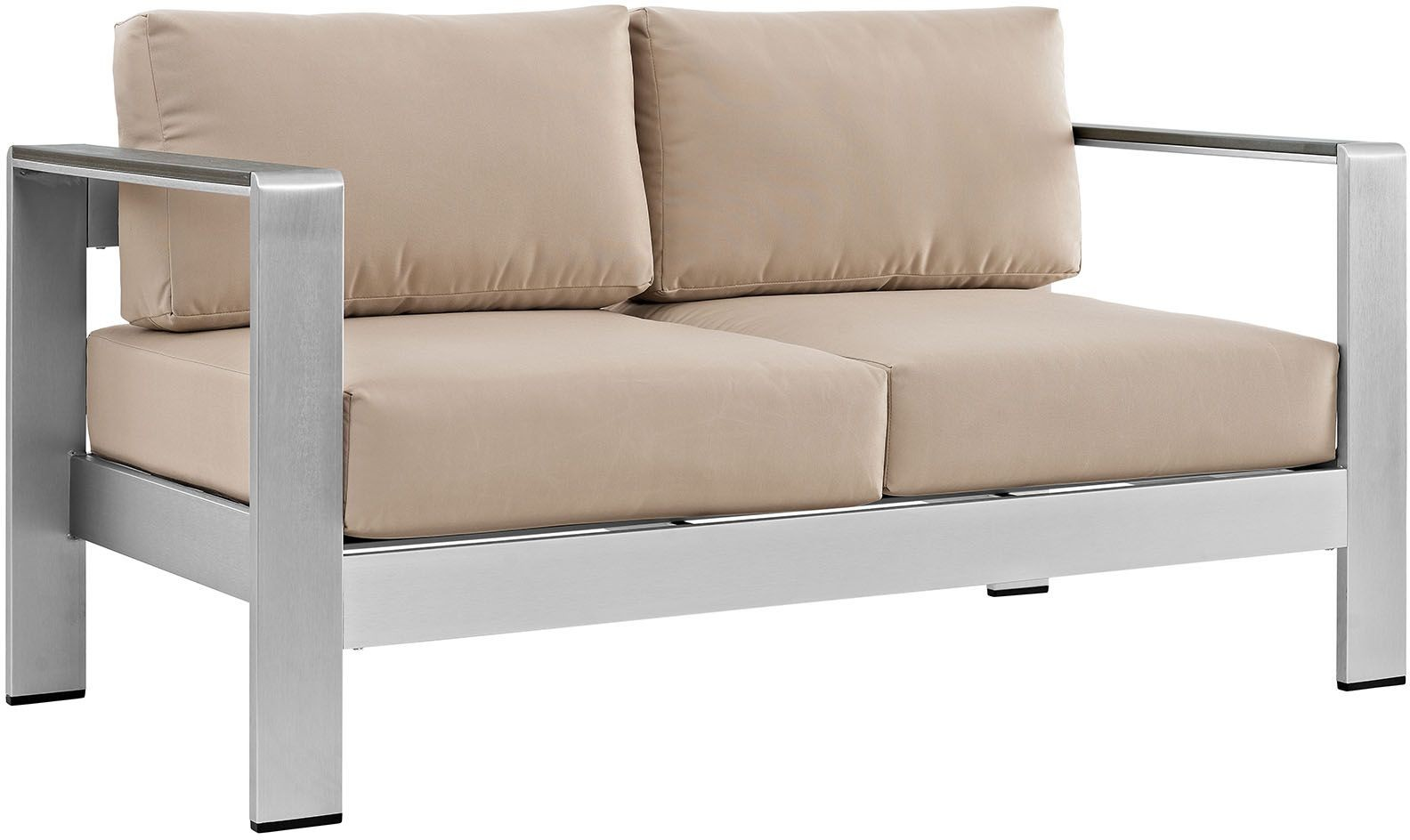 Shore Silver Beige Aluminum Outdoor Patio Loveseat From Renegade Coleman Furniture