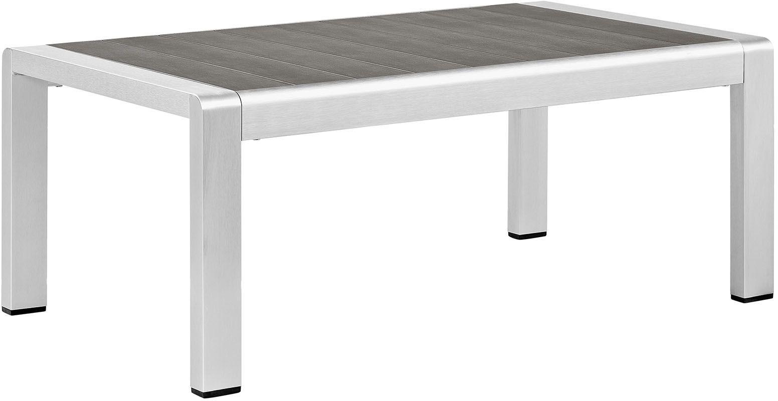 Shore Silver Gray Aluminum Outdoor Patio Coffee Table Eei 2268 Slv Gry Renegade Furniture