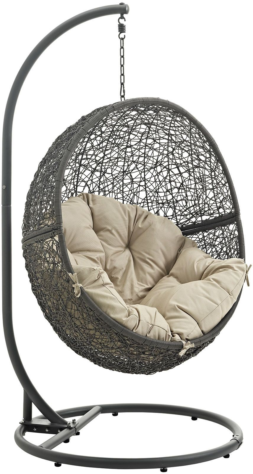 Hide Gray Beige Outdoor Patio Swing Chair With Stand from Renegade : Coleman Furniture
