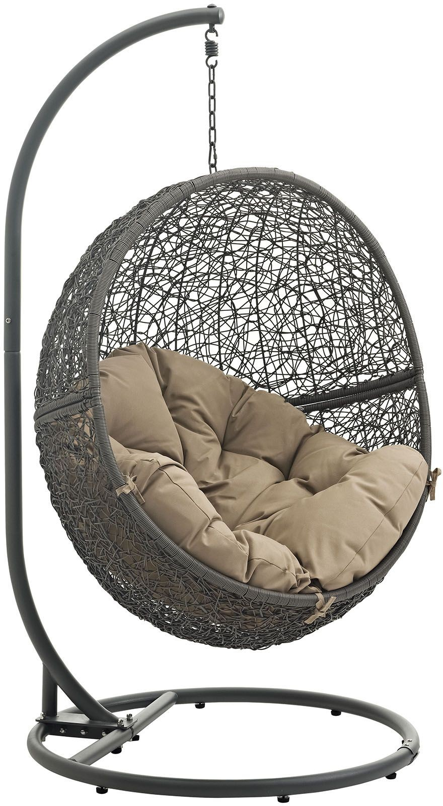 hide gray mocha outdoor patio swing chair with stand eei 2273 gry moc renegade furniture. Black Bedroom Furniture Sets. Home Design Ideas