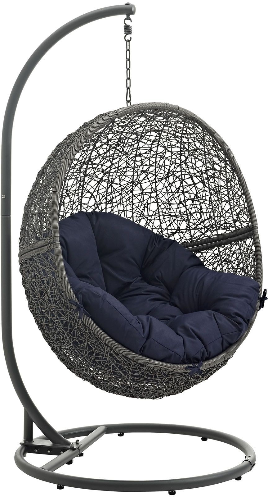 hide gray navy outdoor patio swing chair with stand from renegade coleman furniture. Black Bedroom Furniture Sets. Home Design Ideas