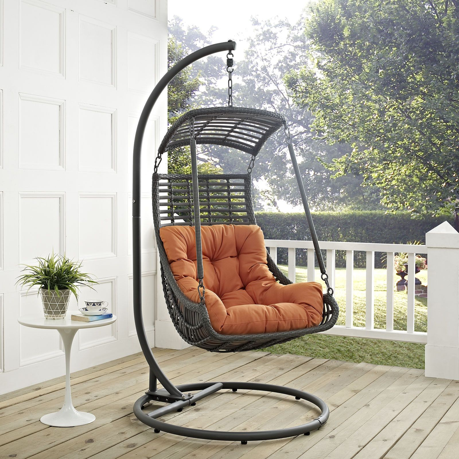 jungle orange outdoor patio swing chair with stand eei 2274 ora set renegade furniture. Black Bedroom Furniture Sets. Home Design Ideas