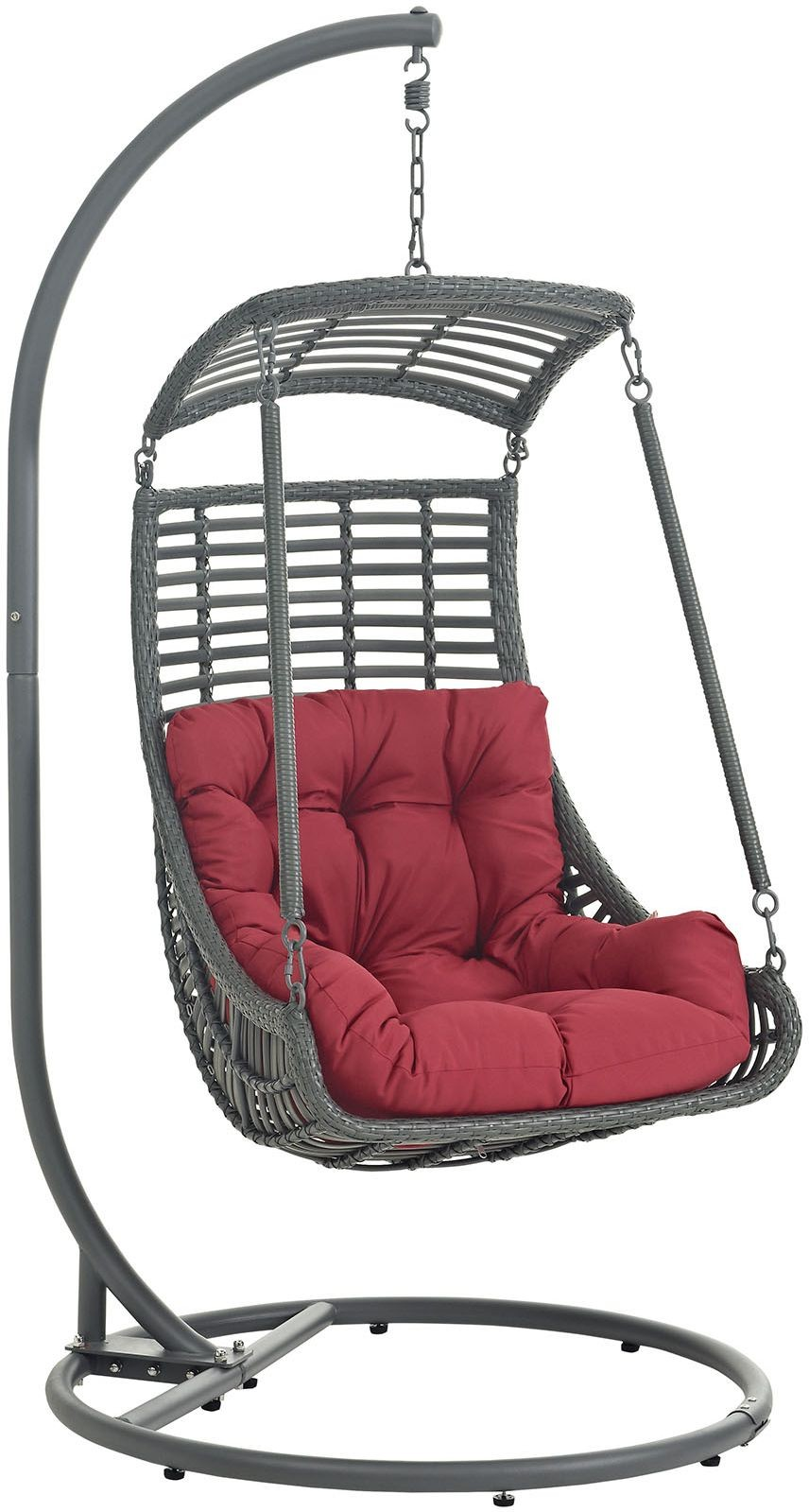 jungle red outdoor patio swing chair with stand eei 2274 red set renegade furniture. Black Bedroom Furniture Sets. Home Design Ideas