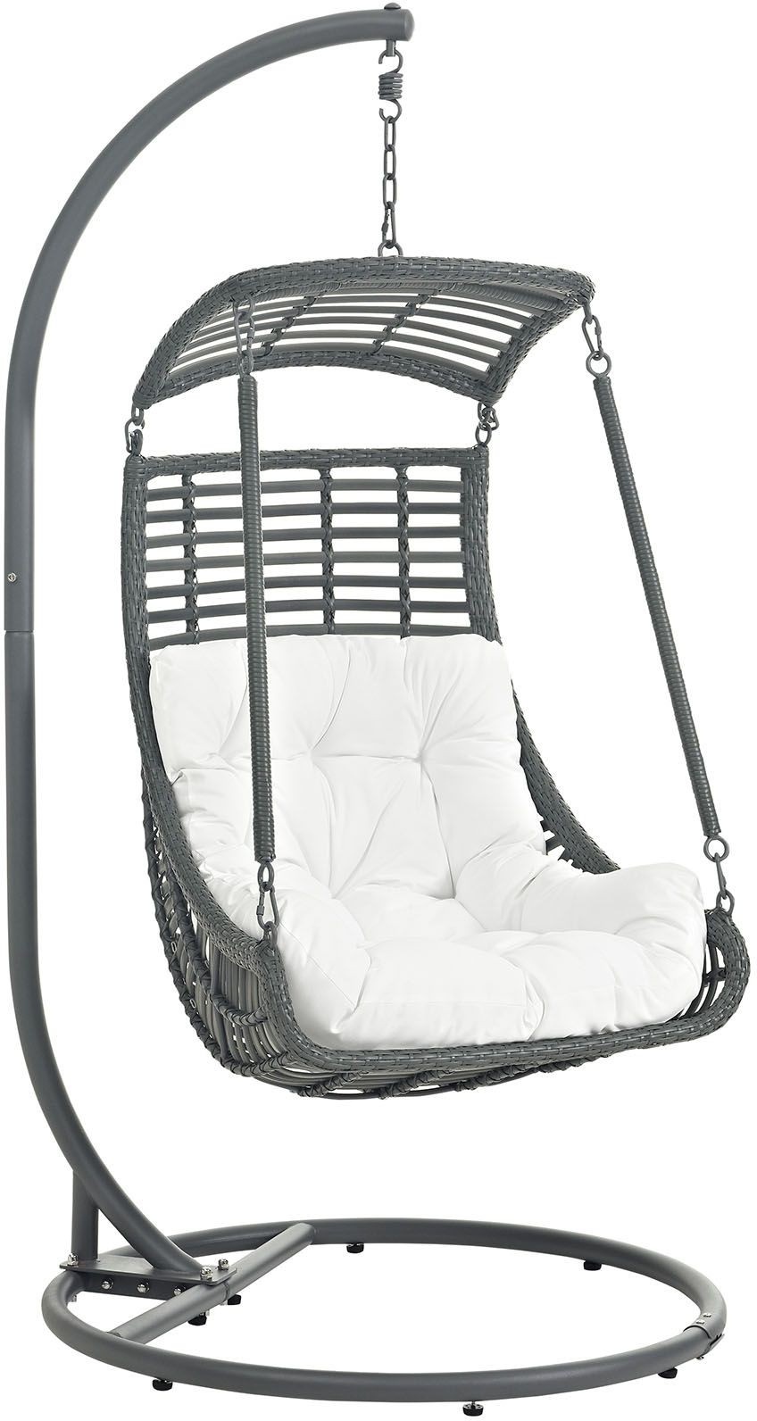 Jungle white outdoor patio swing chair with stand from for White porch swing with stand
