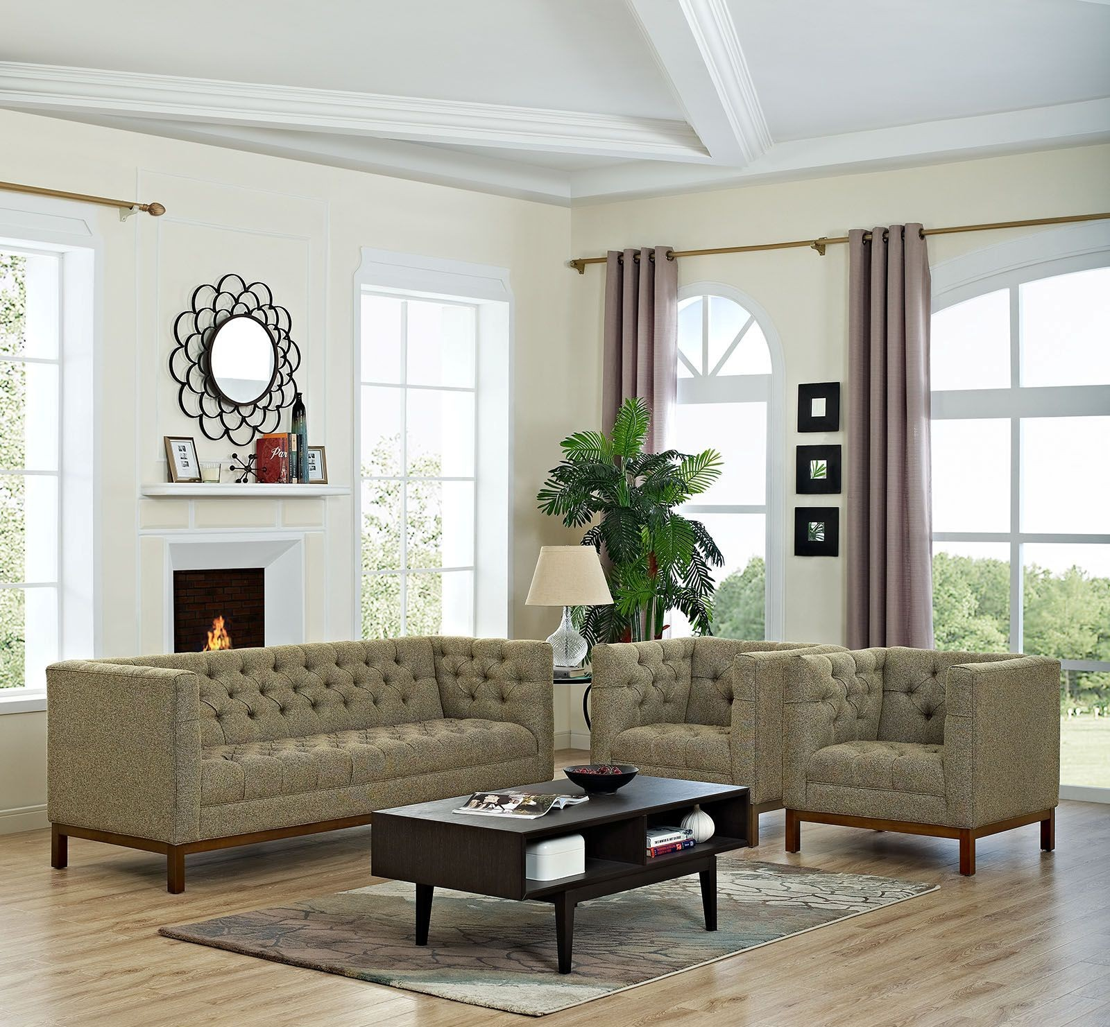 Panache Oatmeal 3 Piece Upholstered Living Room Set From Renegade Coleman Furniture