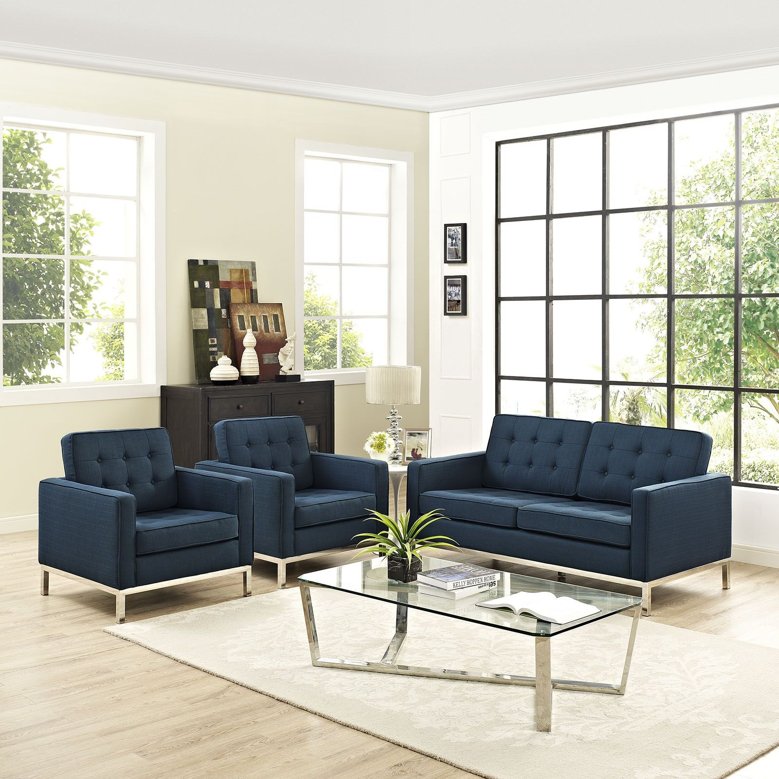 Loft Azure 3 Piece Upholstered Living Room Set Eei 2438 Azu Set Renegade Furniture