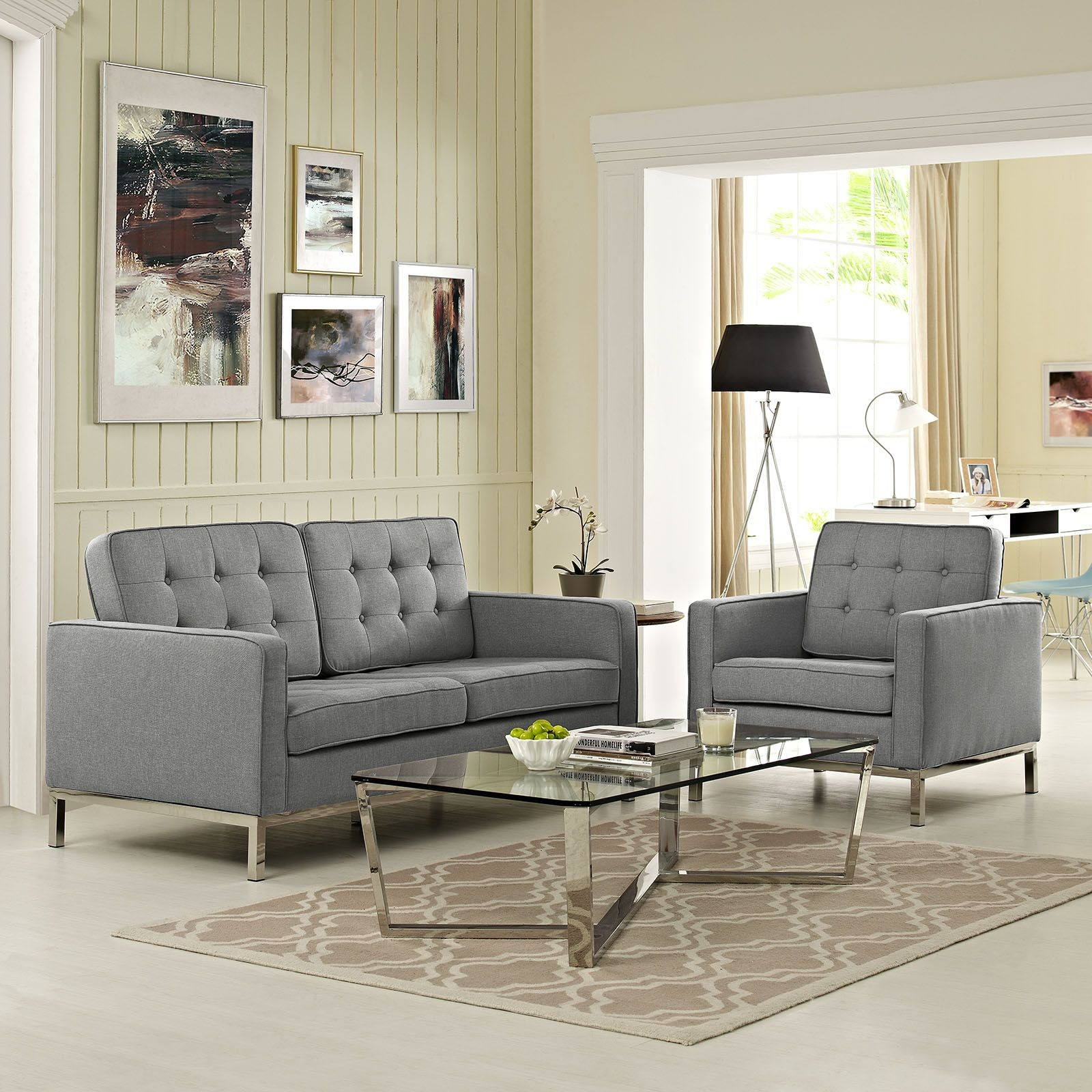 Loft light gray 2 piece upholstered living room set from for 7 piece living room set with tv