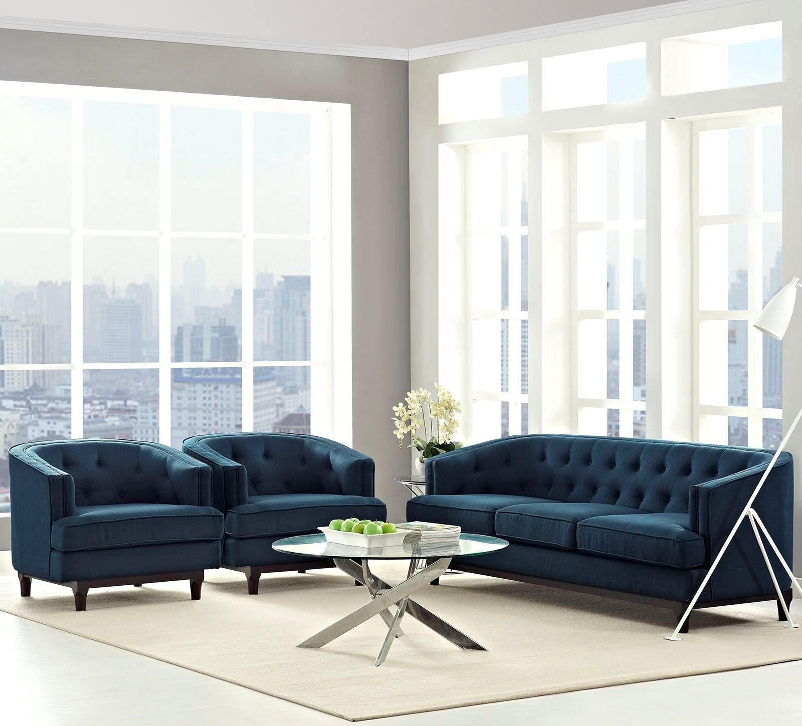 Coast azure 3 piece living room set from renegade for Living room 3