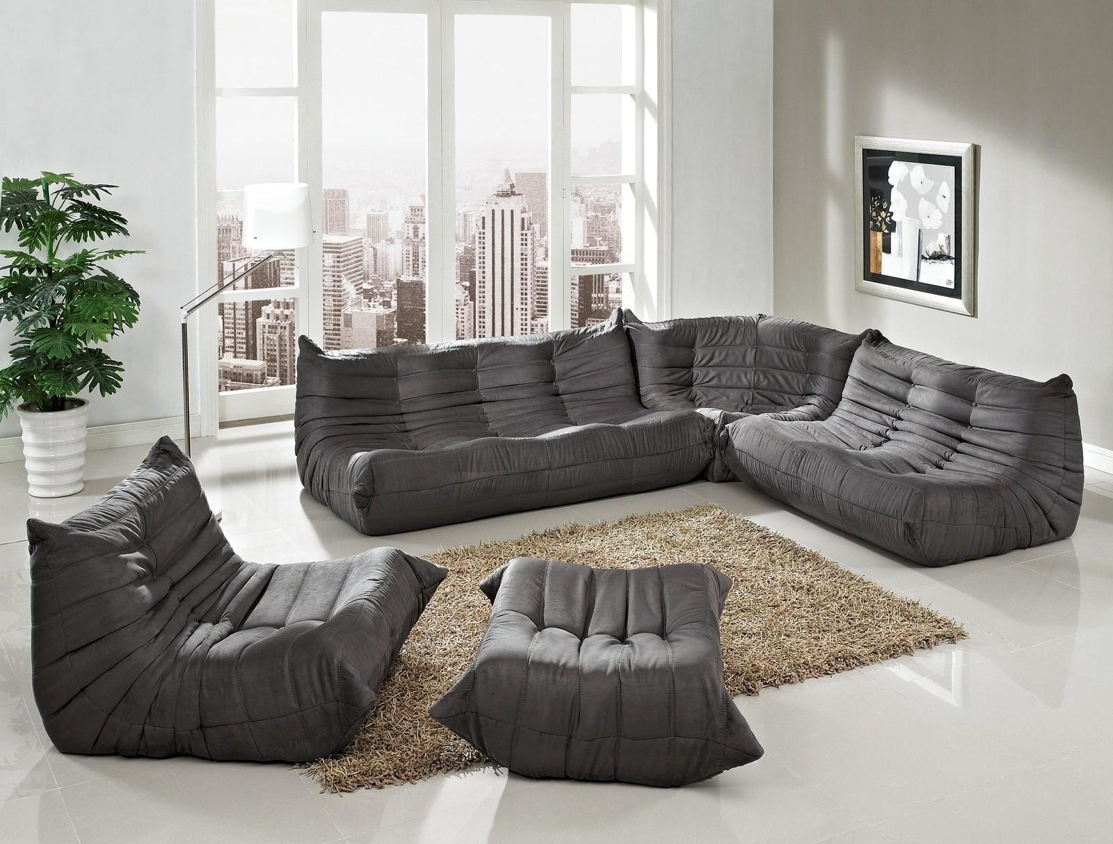 waverunner modular sectional sofa set in light gray 5 pieces