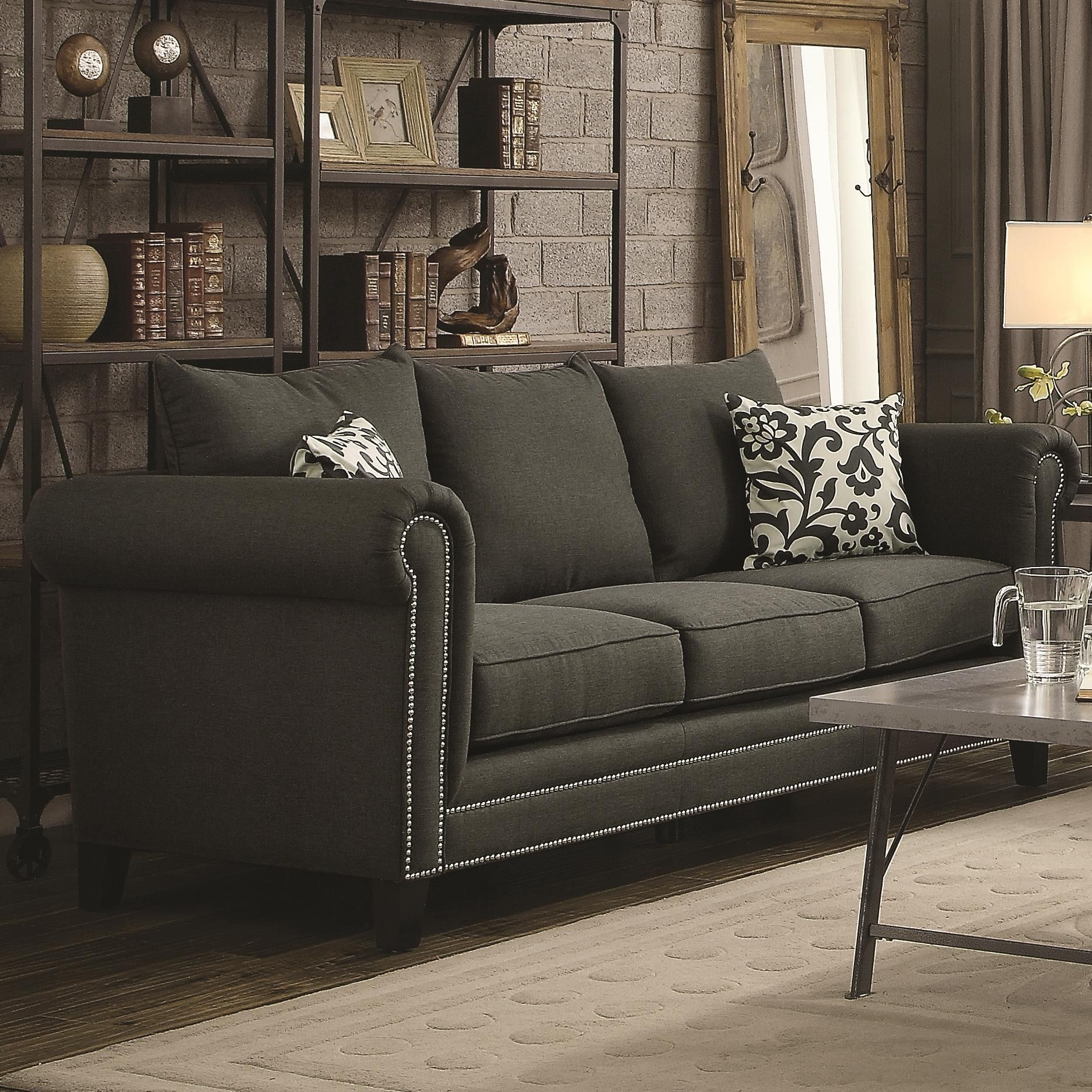charcoal living room furniture emerson charcoal living room set from coaster 504911 12794