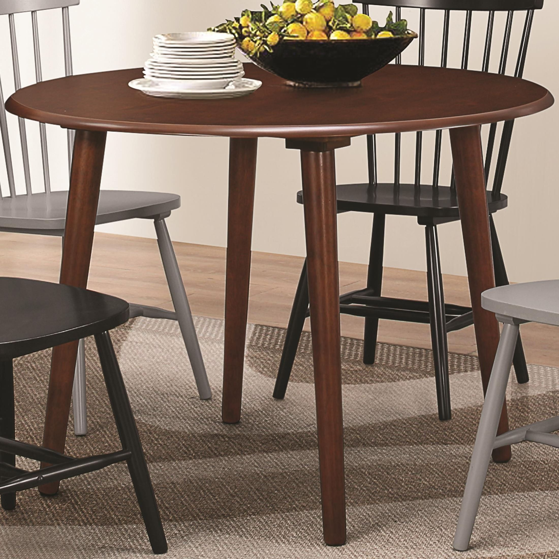 emmett walnut round dining table from coaster 104000 coleman furniture. Black Bedroom Furniture Sets. Home Design Ideas