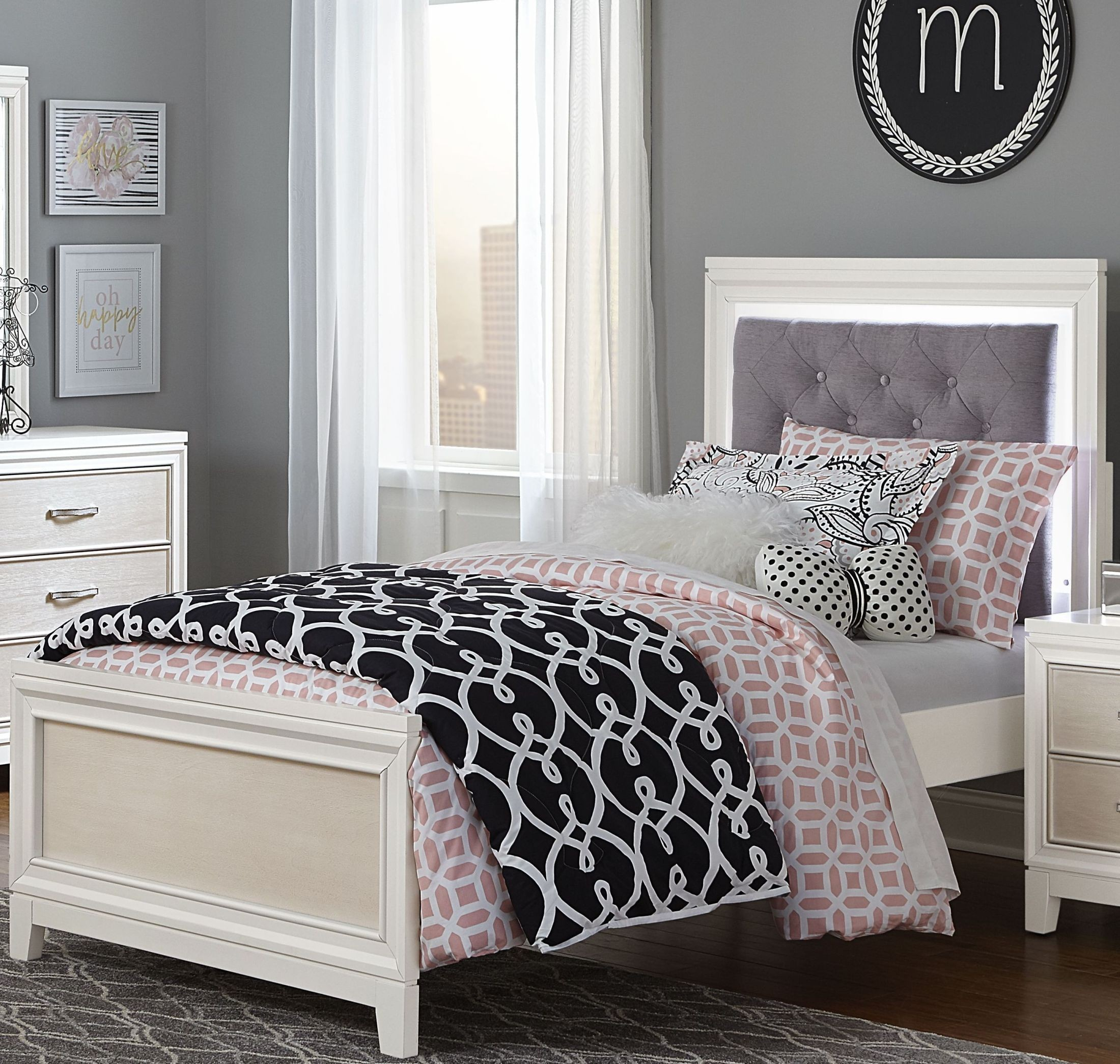 evelyn white and light grey twin upholstered bed from ne kids coleman furniture. Black Bedroom Furniture Sets. Home Design Ideas