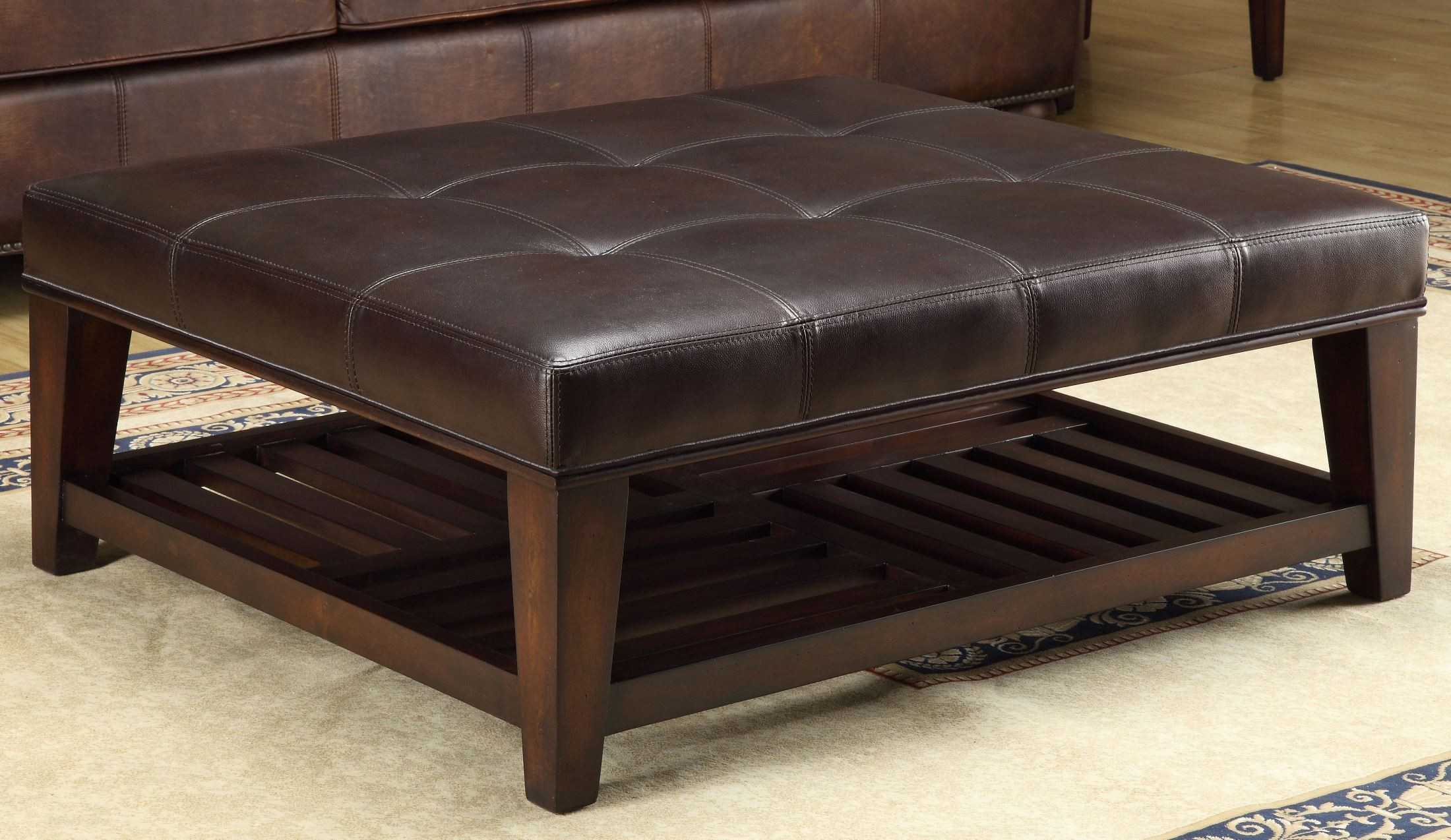 Hayton Burundy Leather Tufted Leg Shelf Cocktail Table From Lazzaro Wh F355a 3327 Coleman