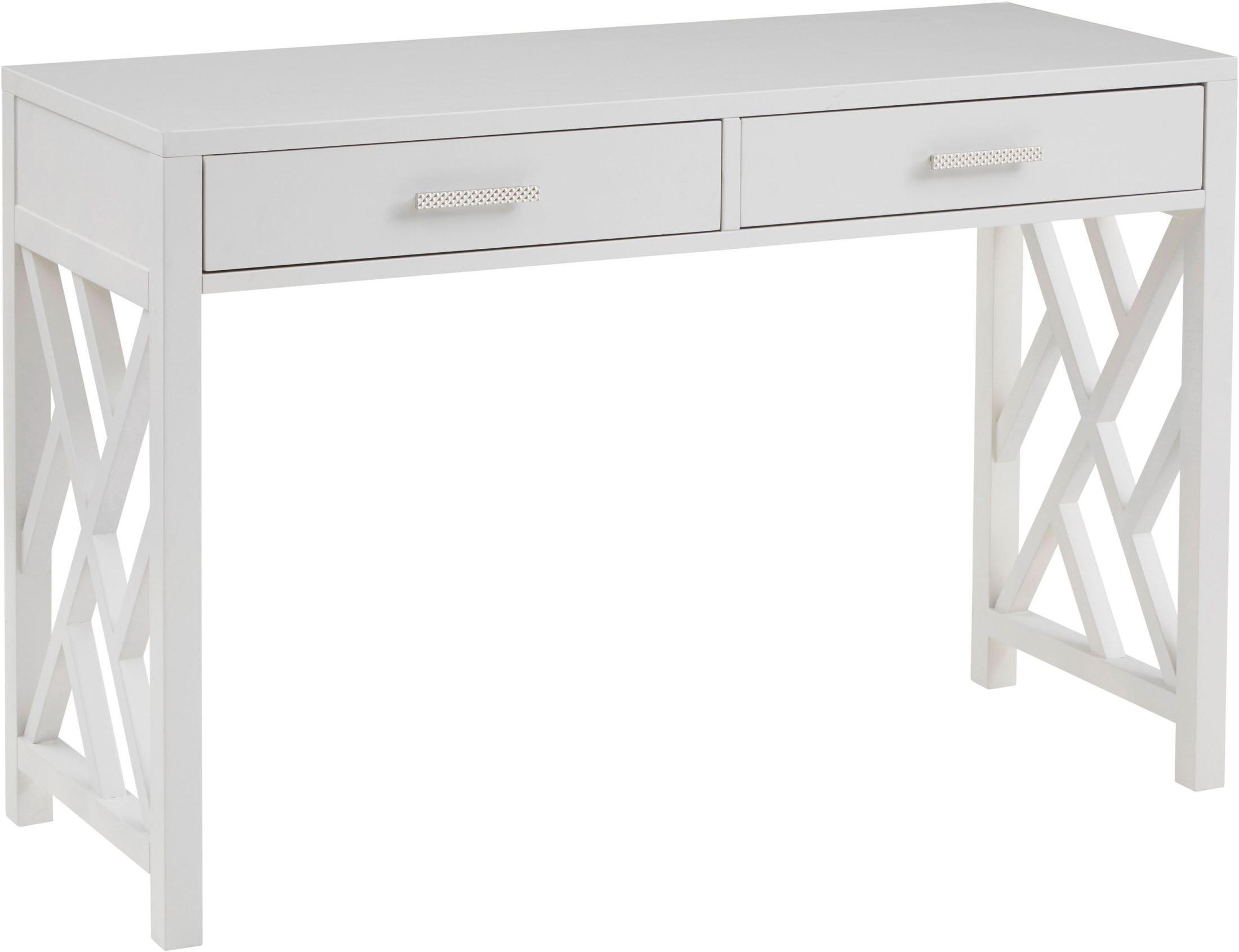 Glam Lattice White 2 Drawer Wooden Desk From Pulaski