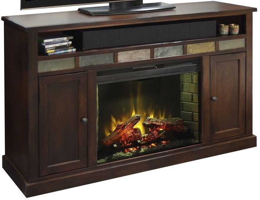 """Fire Creek 62"""" Brown Fireplace Console from Legends ..."""
