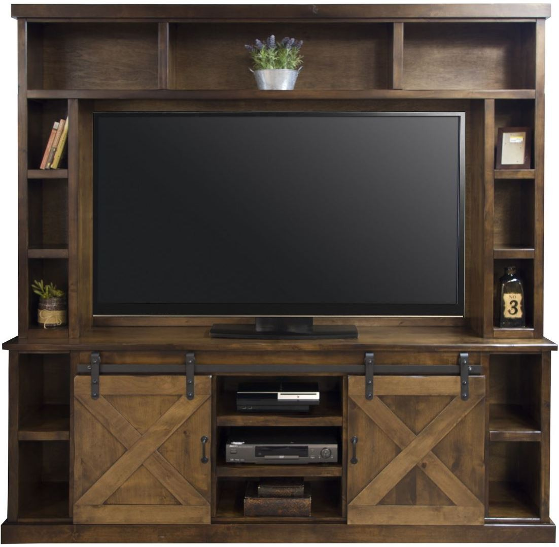 Furnishing Around Art Simple Entertainment Room Part 2: Farmhouse Brown Entertainment Center From Legends