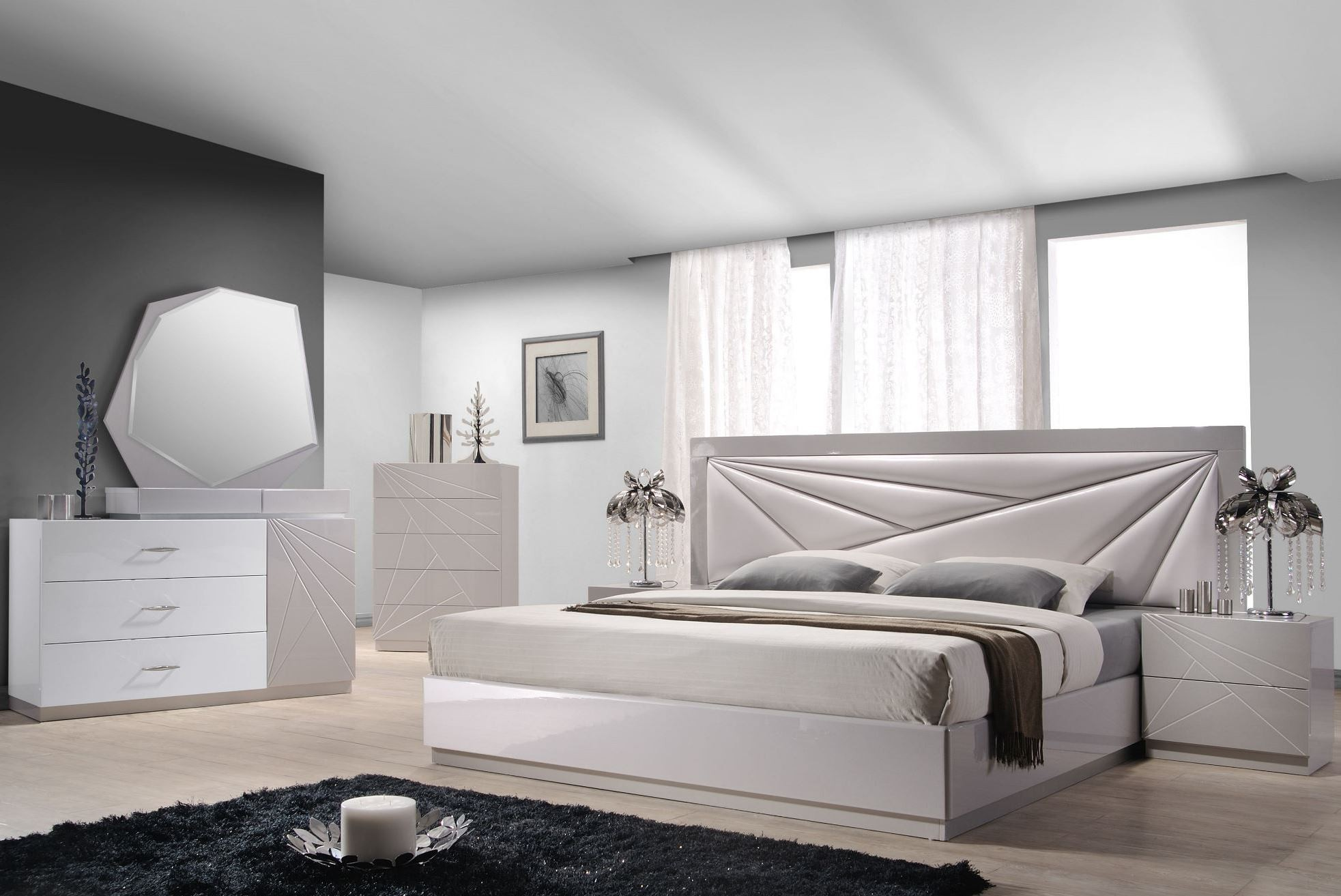 Florence White & Light Grey Lacquer Platform Bedroom Set ...
