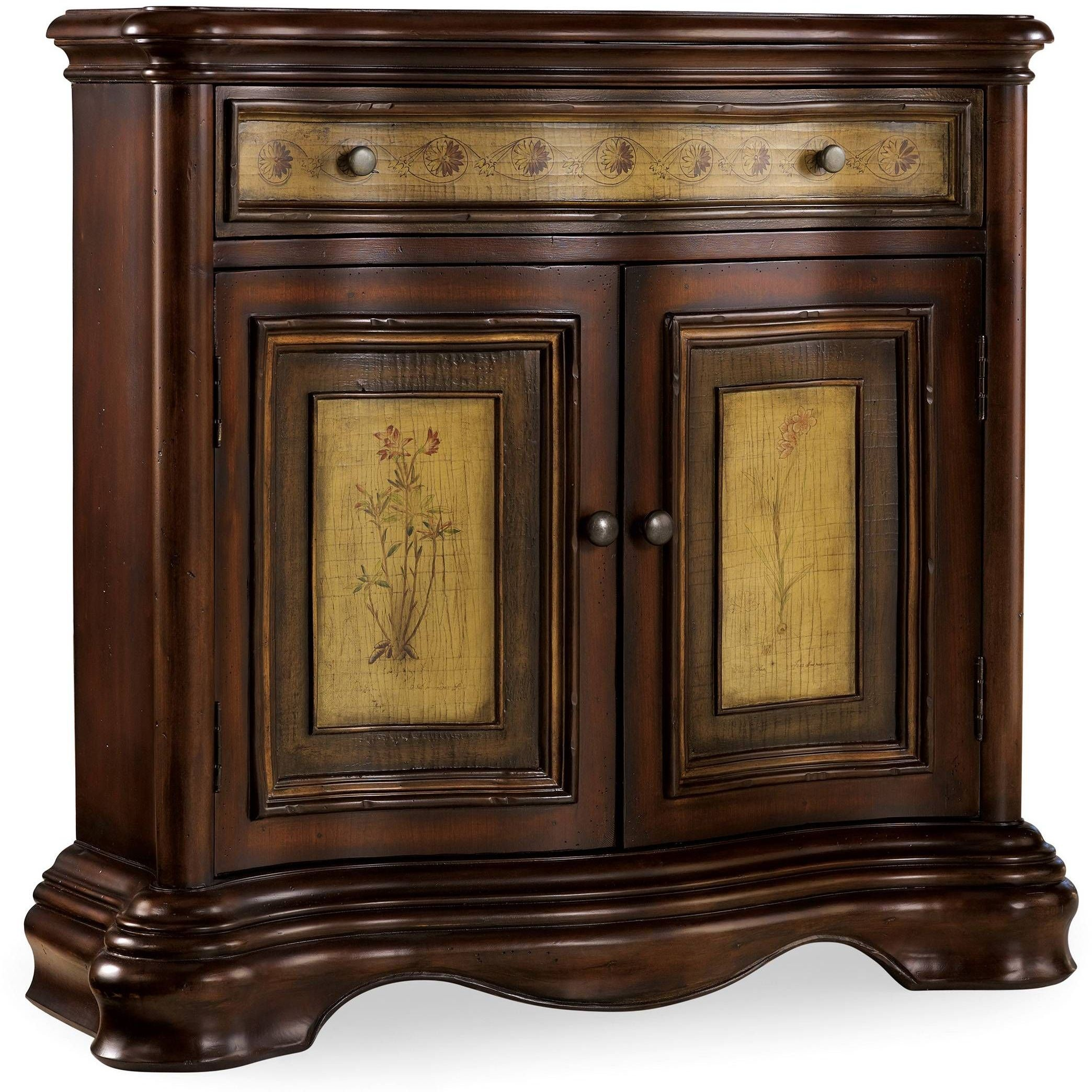 Vineyard drawer two tone shaped hall chest from hooker