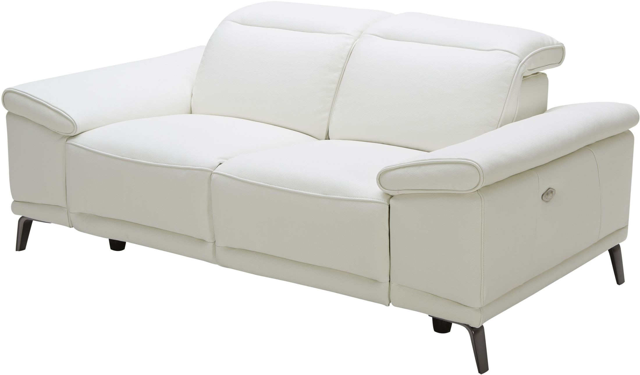 Gaia White Leather Power Reclining Loveseat From Jnm