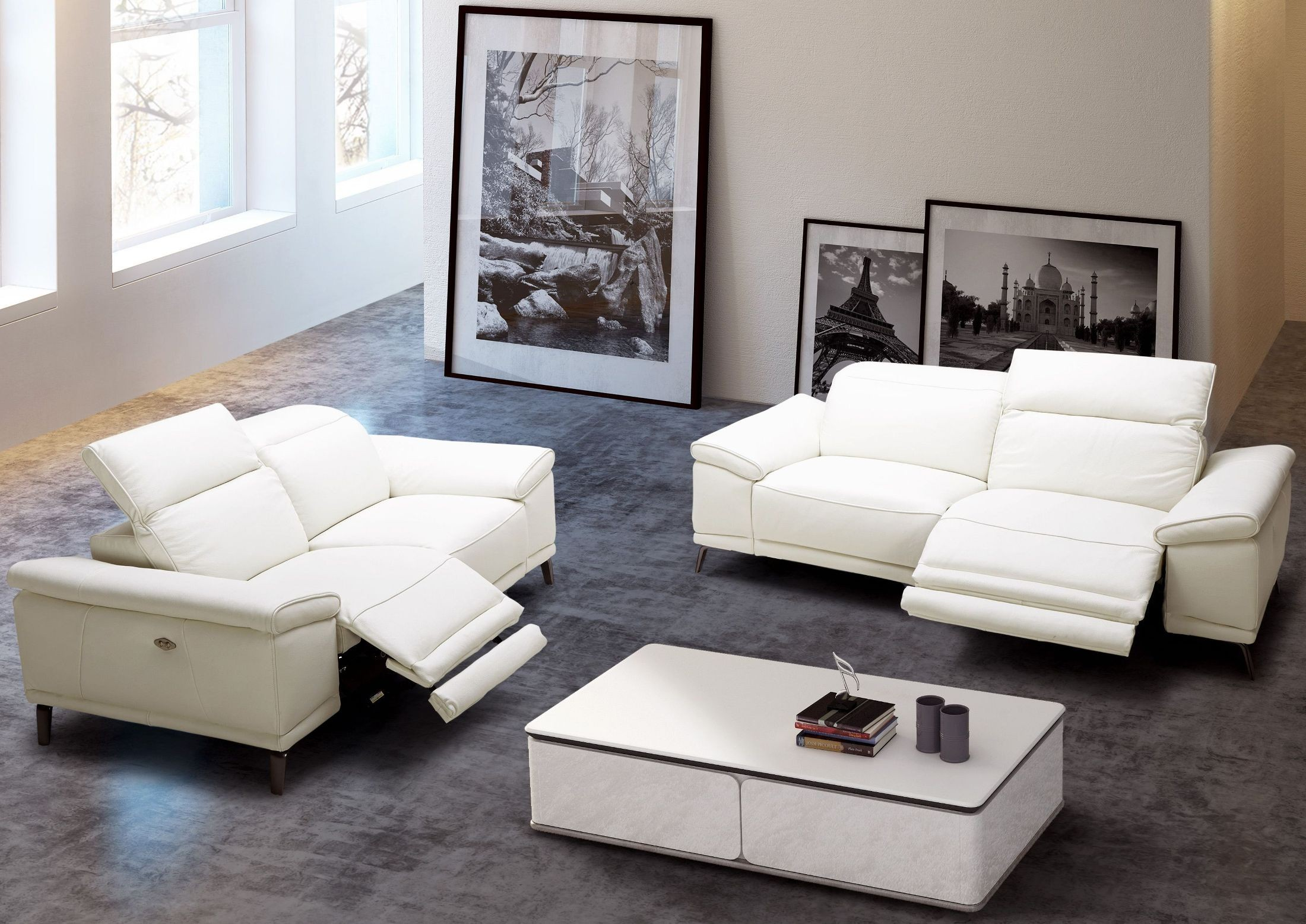 Gaia White Leather Power Reclining Living Room Set From