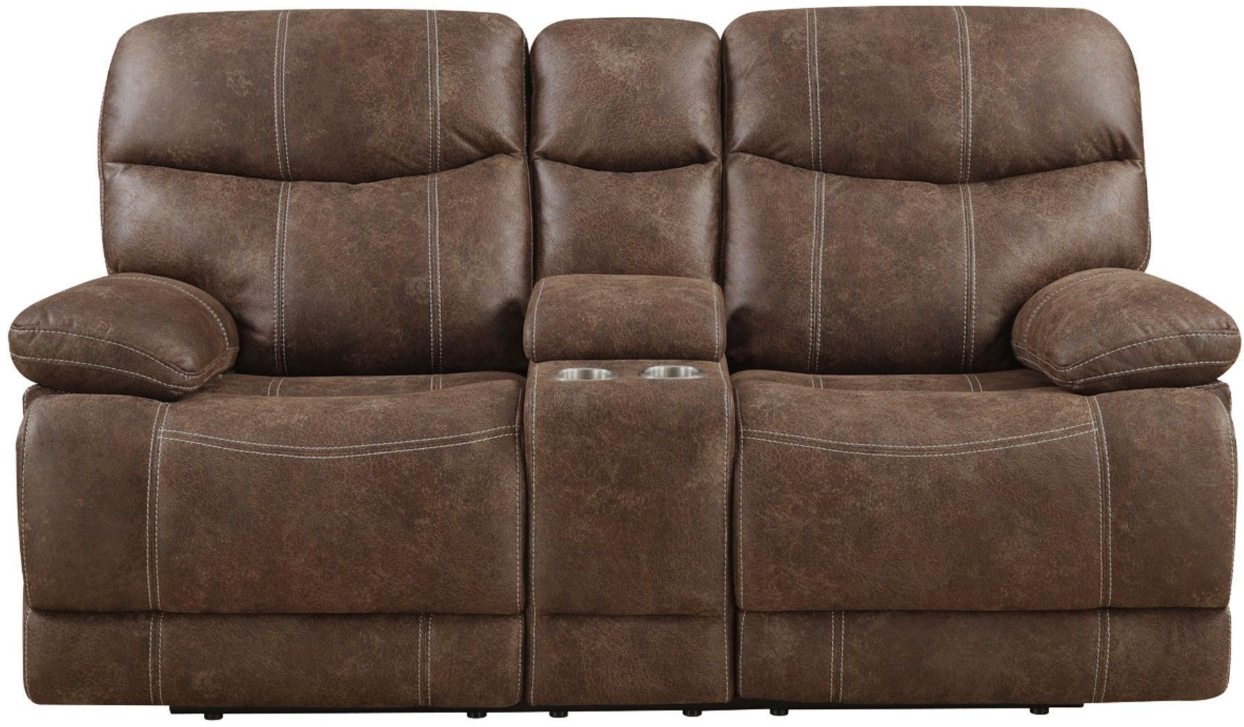 Earl Sanded Microfiber Brown Reclining Console Loveseat From Emerald Home Coleman Furniture