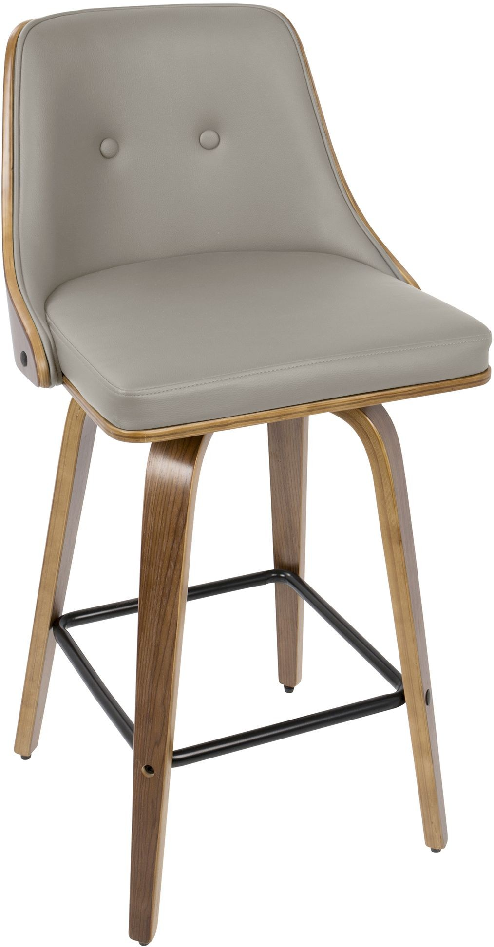 Gianna Walnut And Light Gray Leather Counter Stool Set Of