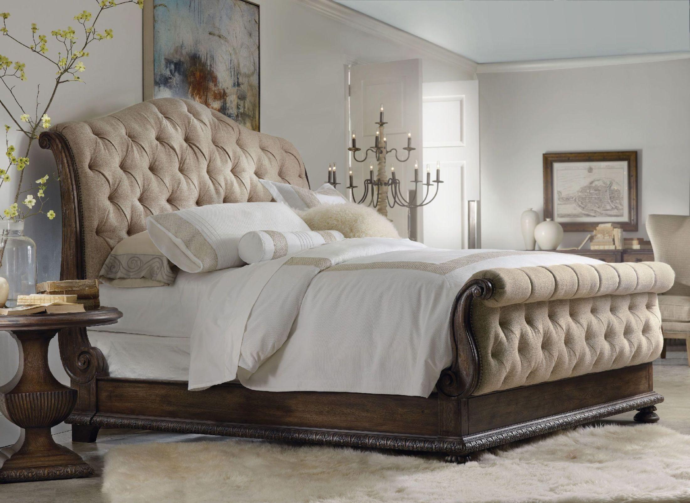 Rhapsody Beige Tufted Sleigh Bedroom Set From Hooker