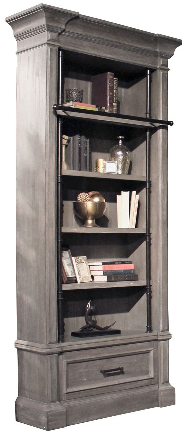 Gramercy Park Vintage Burnished Smoke Museum Bookcase From Parker House Coleman Furniture