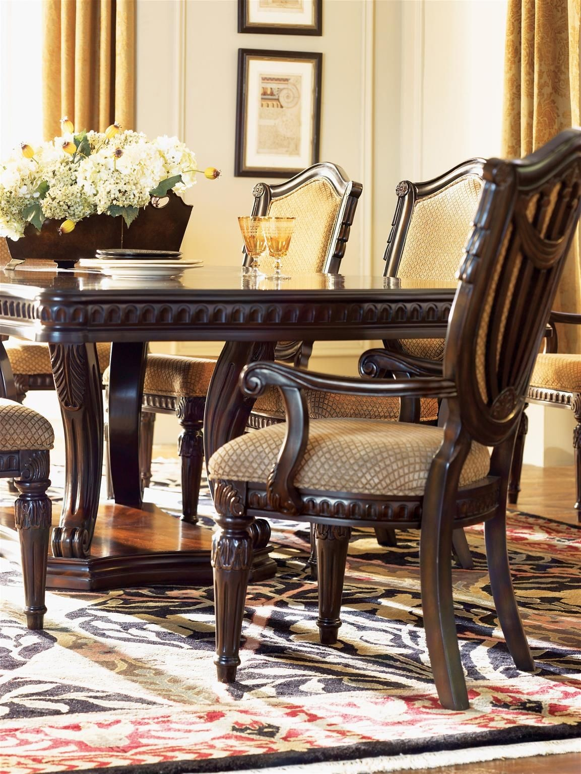 grand estates cinnamon extendable double pedestal dining room set 833594
