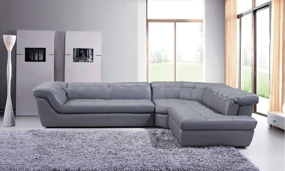 397 grey italian leather raf chaise sectional from jm for Italian leather sectional sofa chaise