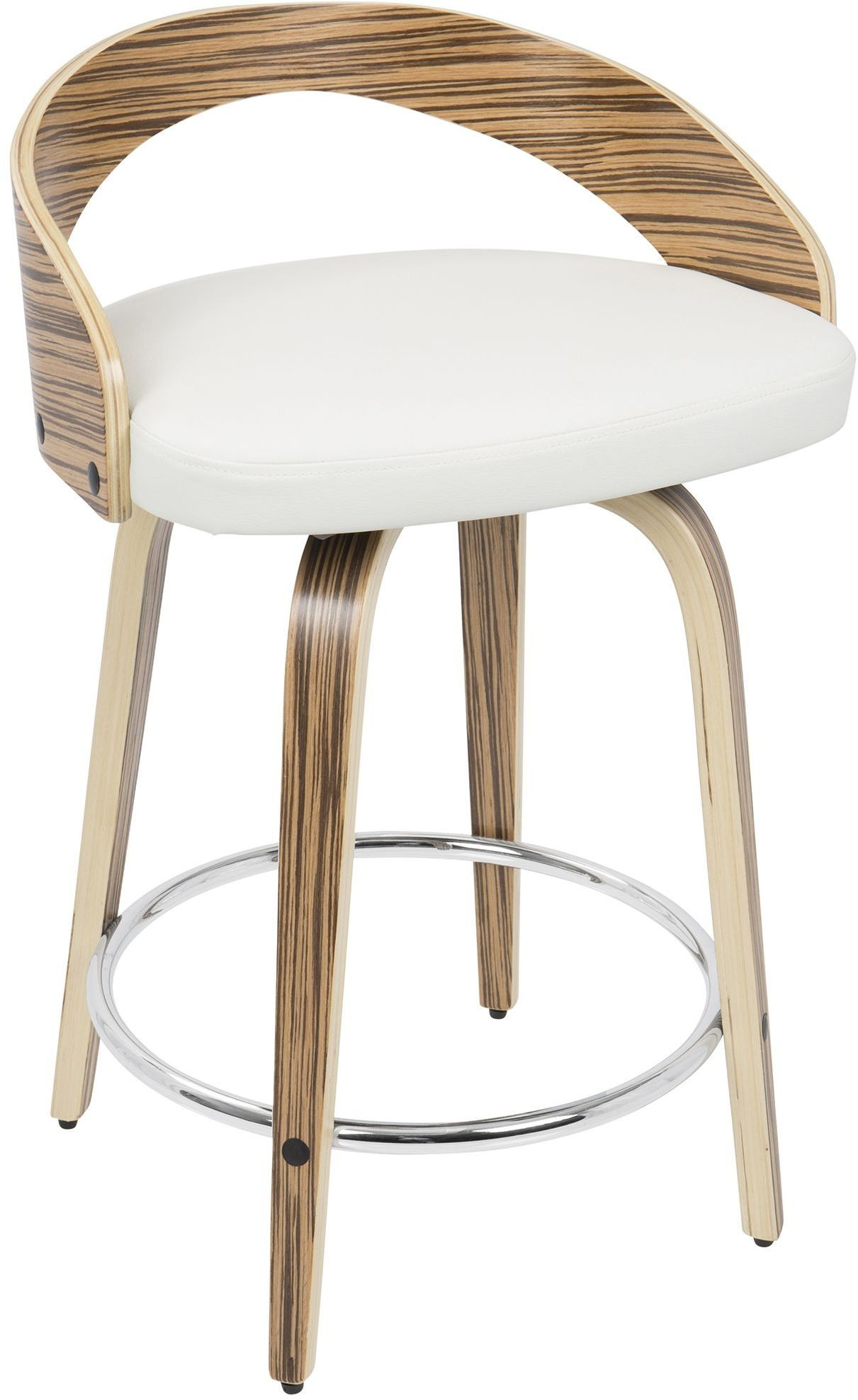 Grotto Zebra Wood And White Counter Stool From Lumisource