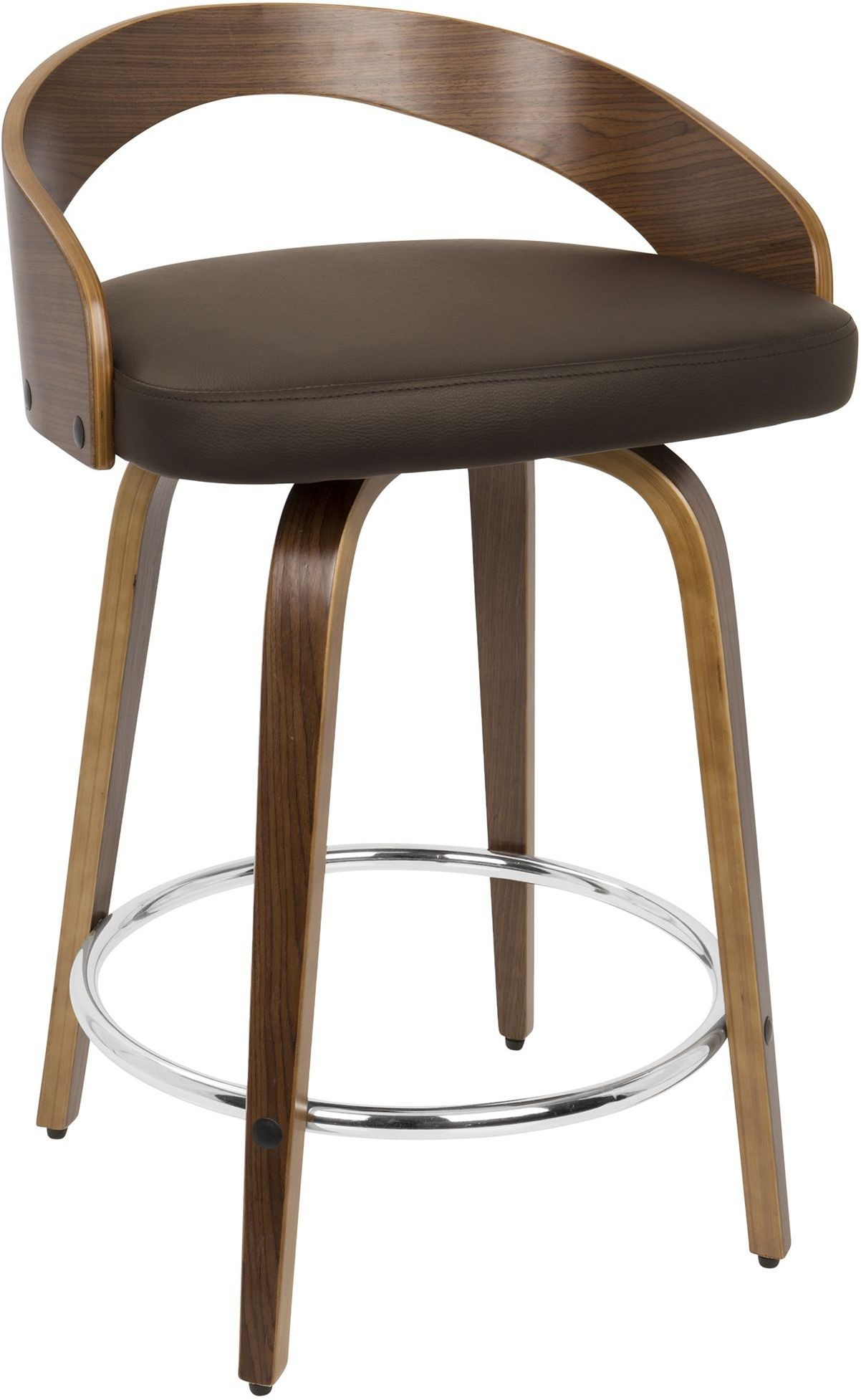 Grotto Silver And Brown Counter Stool Set Of 2 From