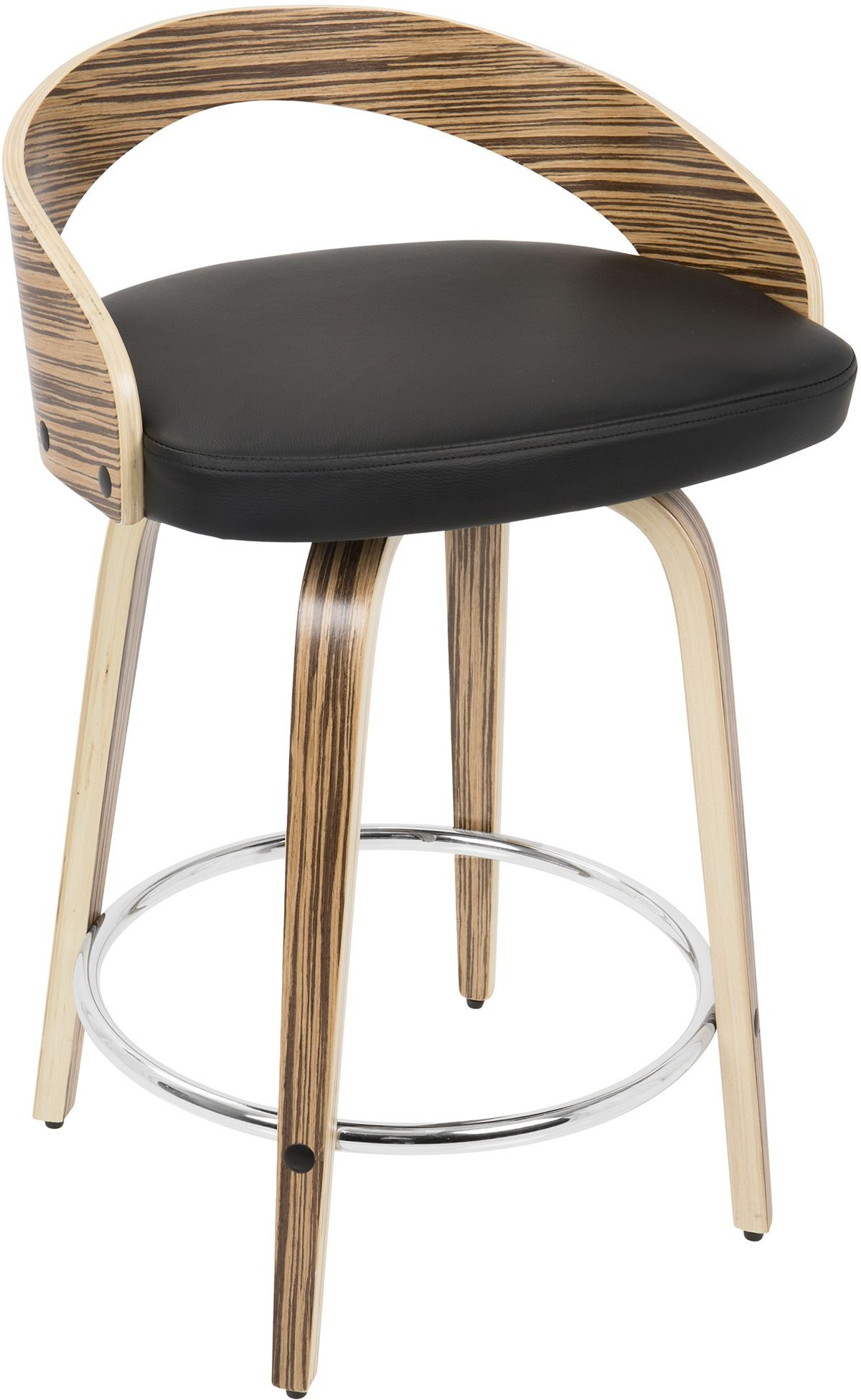 Grotto Zebra Wood And Black Counter Stool Set Of 2 From