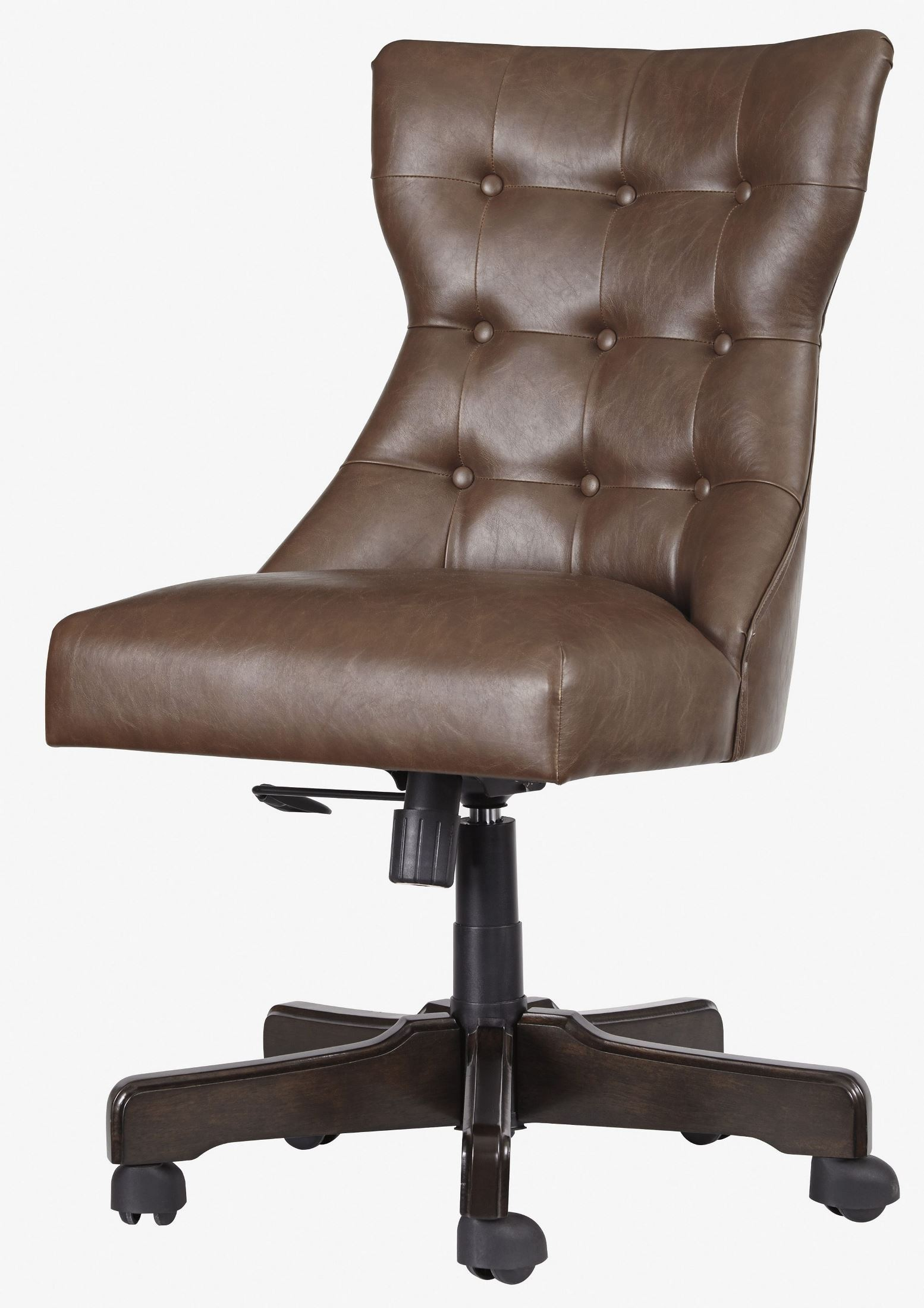 Brown home office swivel desk chair from ashley coleman for Chair with swivel desk
