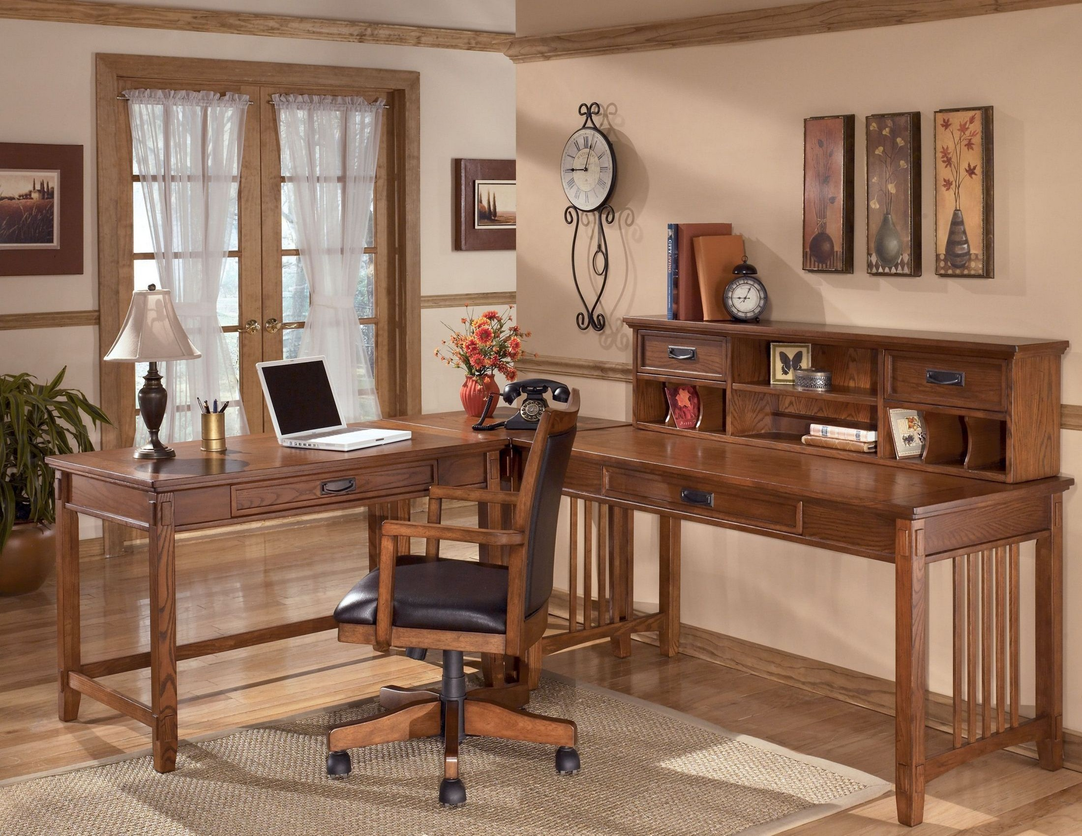 Cross island modular home office set from ashley h319 coleman furniture - Home office mobel ...