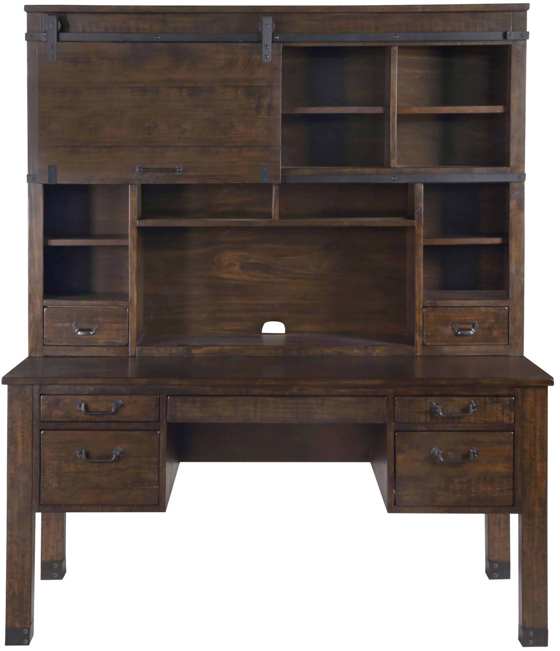 Rustic Home Office Interior Design: Pine Hill Rustic Pine Writing Desk Home Office Set, H3561